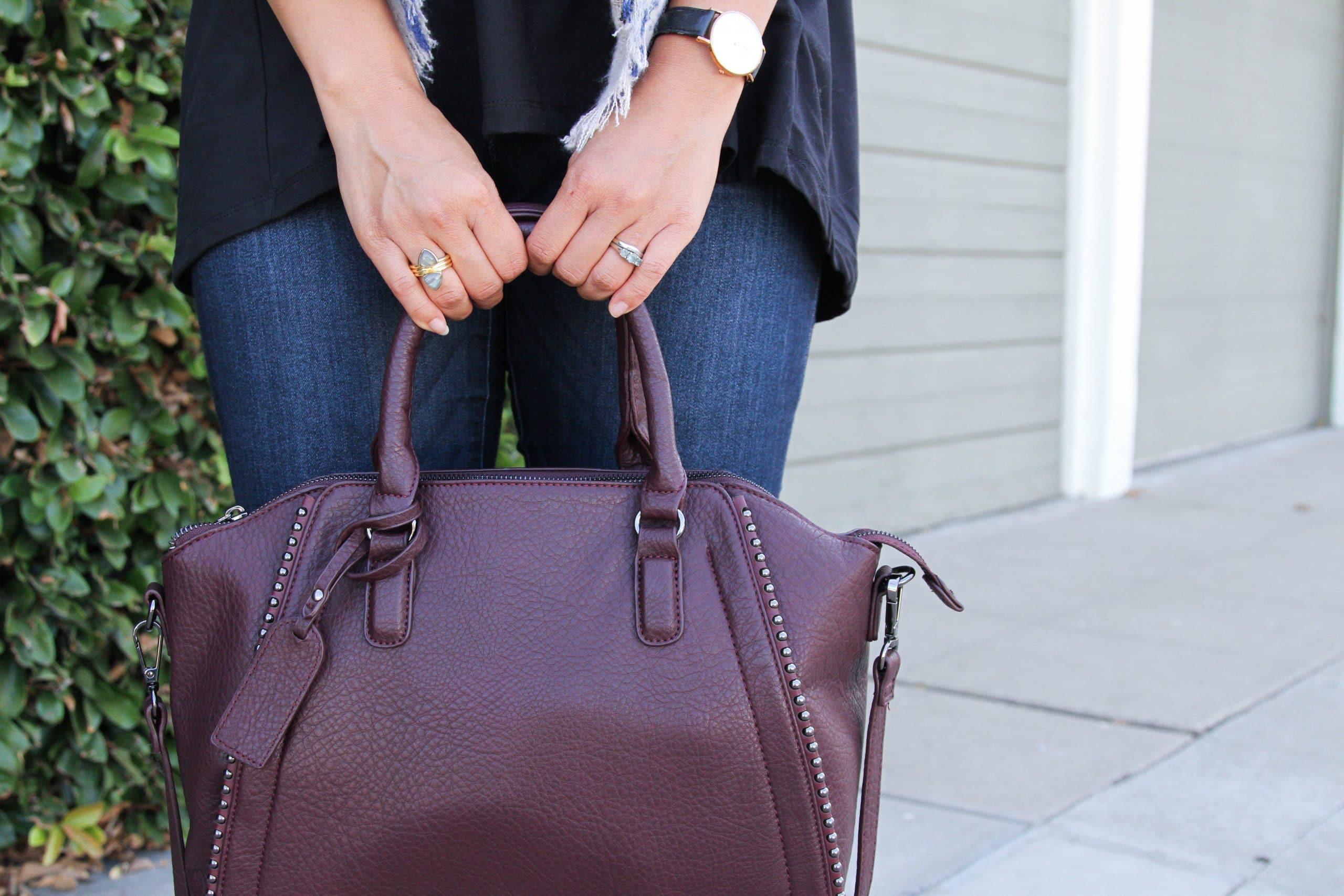 Merlot Bag + Rings + Black Top + Watch