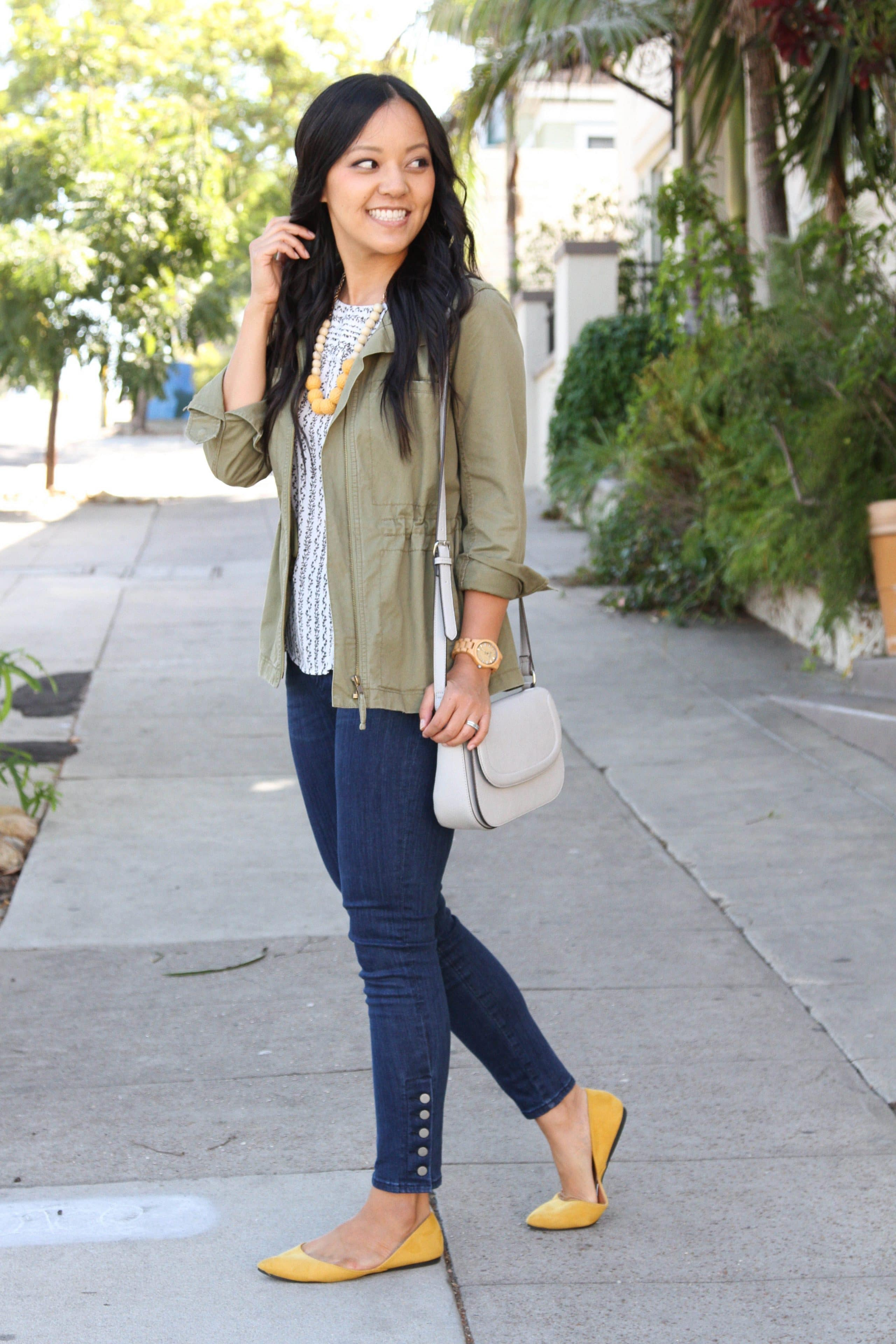Utility Jacket + Blouse + Skinny jeans + Mustard Flats + gray bag