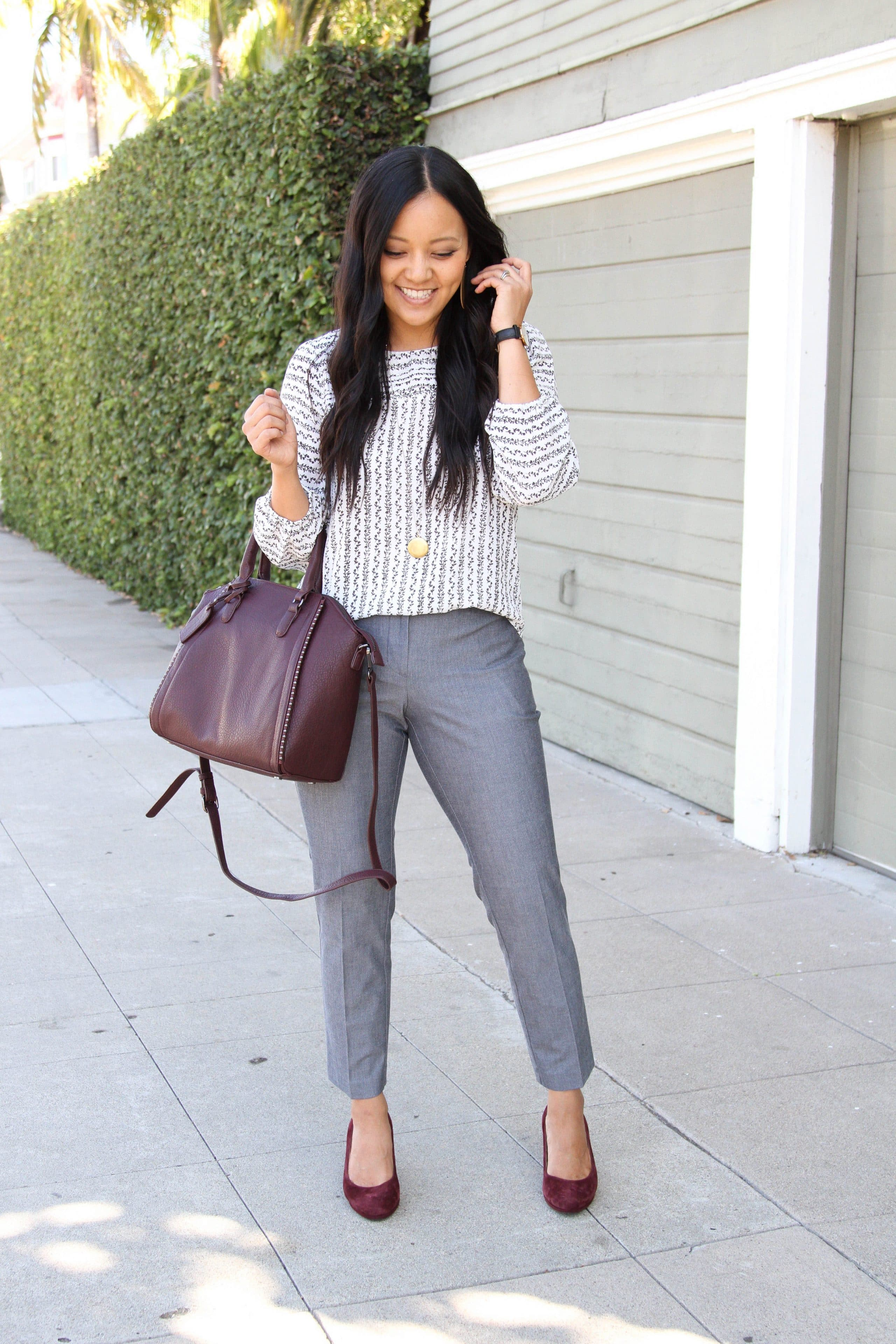 131015d3774 ... White and Black Floral Blouse + Gray Business Casual Pants + Maroon  Heels + Maroon Bag ...