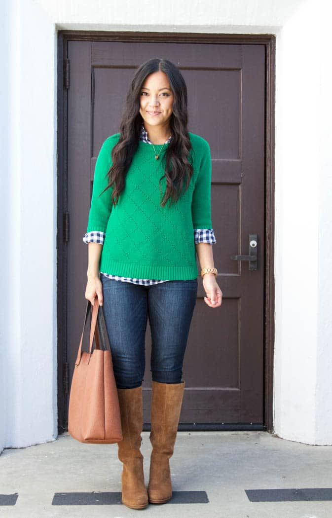Green Pullover Sweater + Gingham Button up + Skinnies + Tote + riding boots