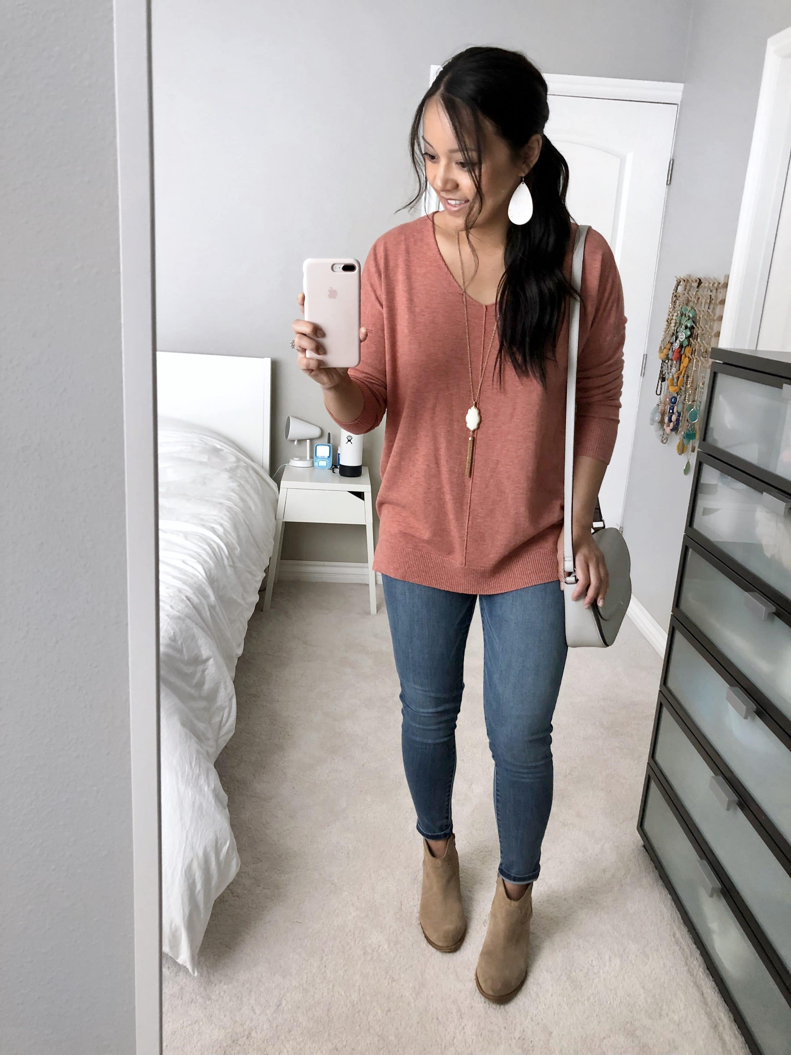 Pink Sweater + Light jeans + Taupe Booties + White Accessories