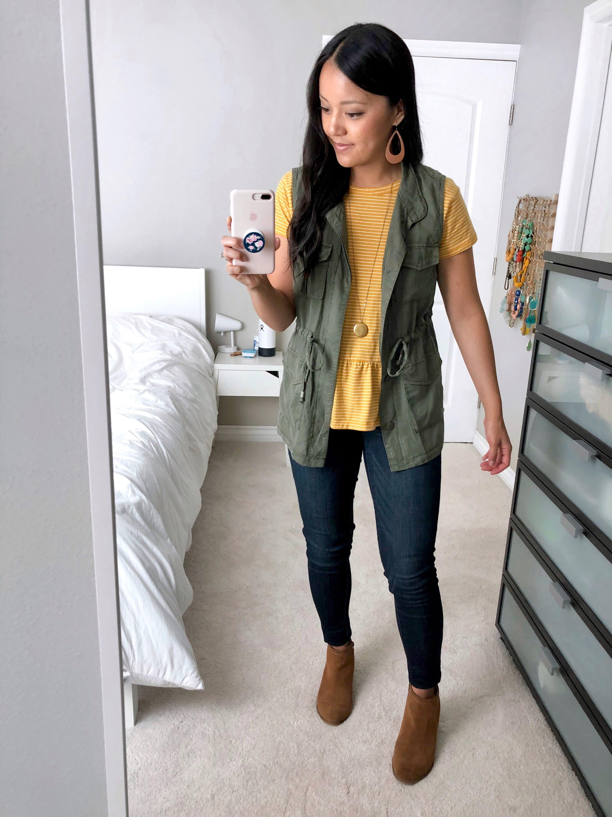 Yellow Peplum top + Utility Vest + Skinnies + Cognac Booties + Earrings
