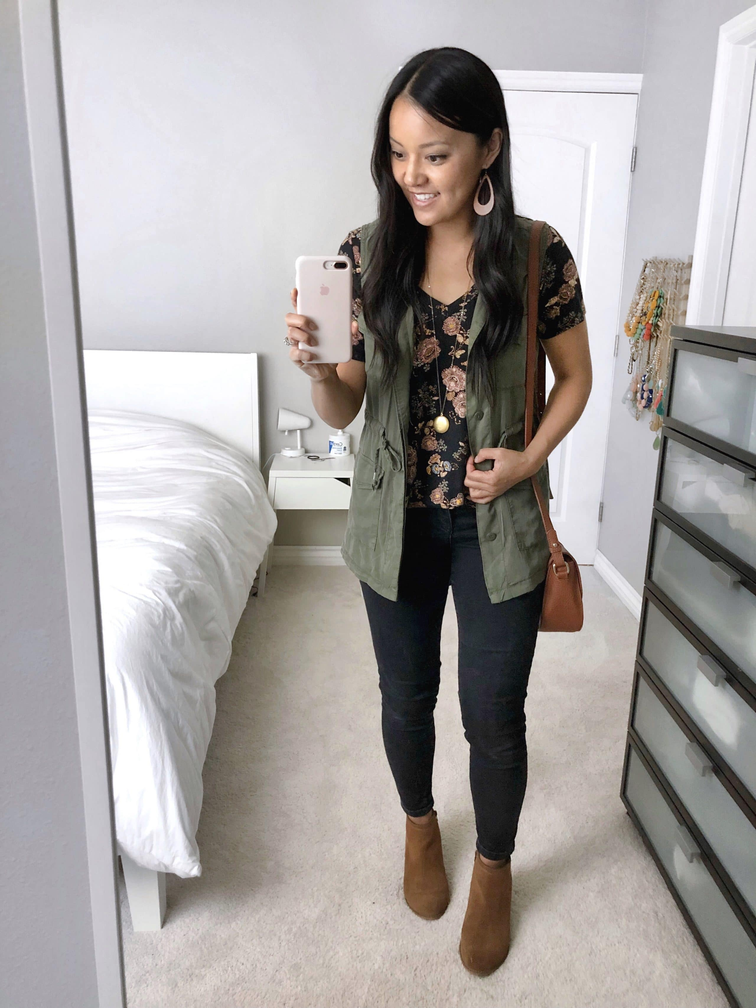 Utility Vest + Black Floral top + Black Skinnies + Cognac Booties