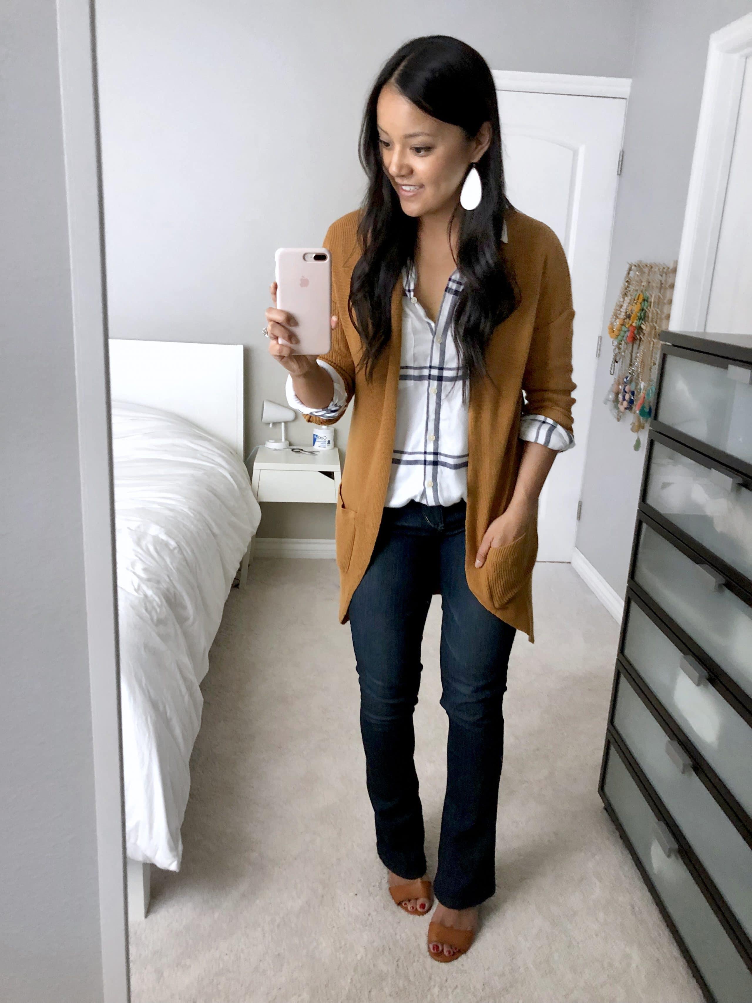 Bootcut jeans + Caramel Cardigan + Windowpane shirt + Heels