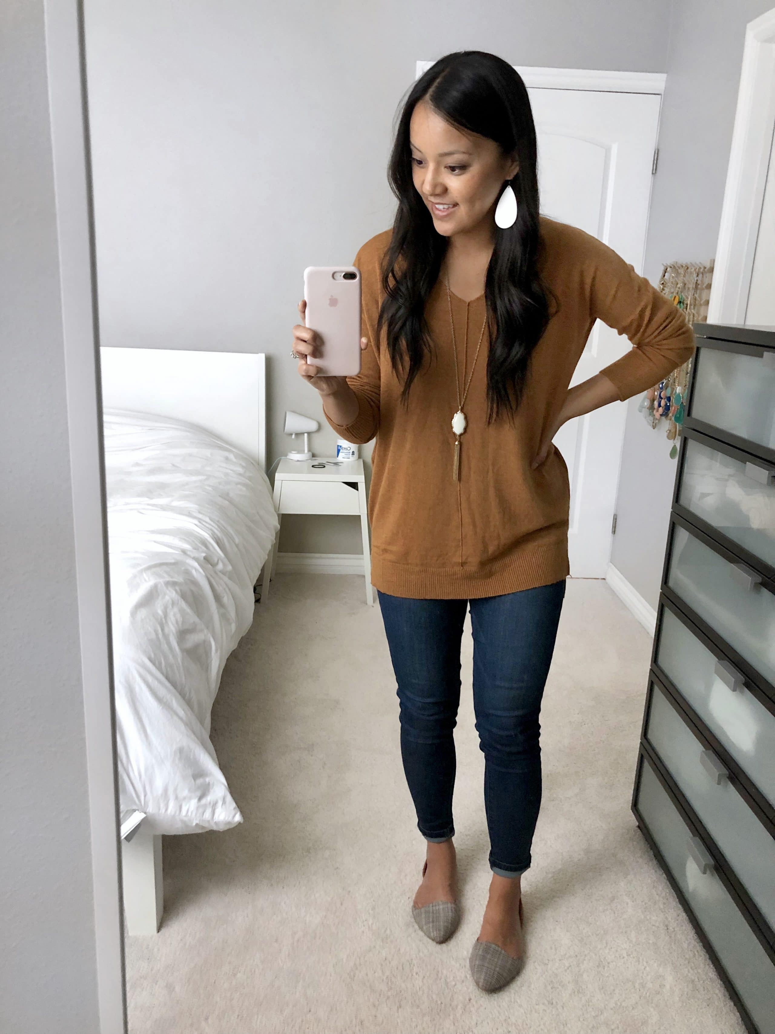 rust sweater + skinnies + flats + white accessories