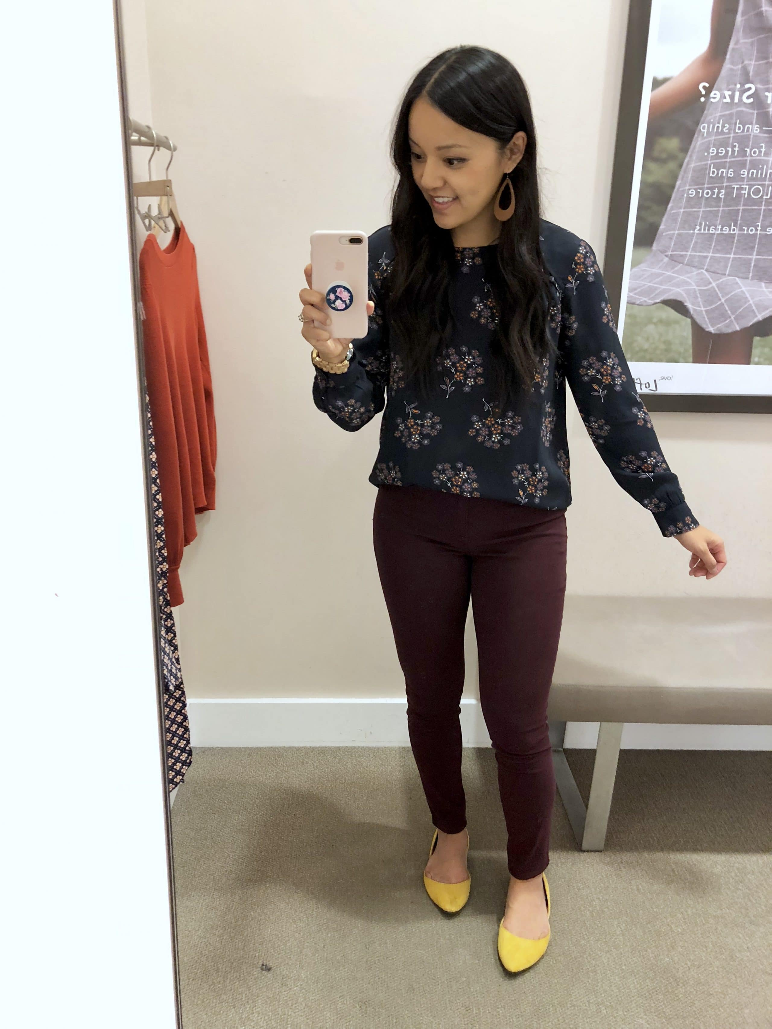 Floral Navy Blouse + Maroon Skinnies + Yellow Flats + Earrings