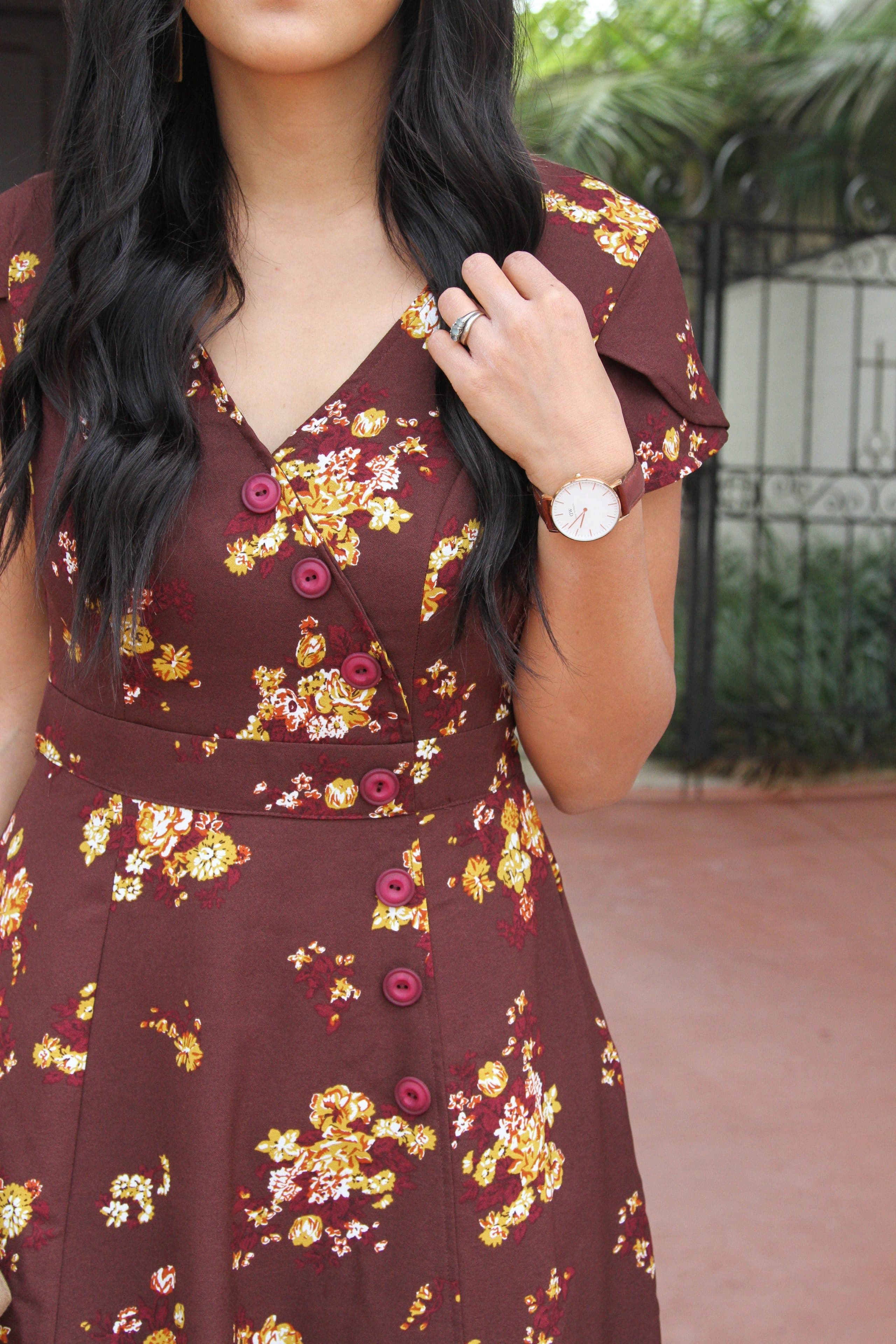 Maroon Floral Dress and Buttons Details