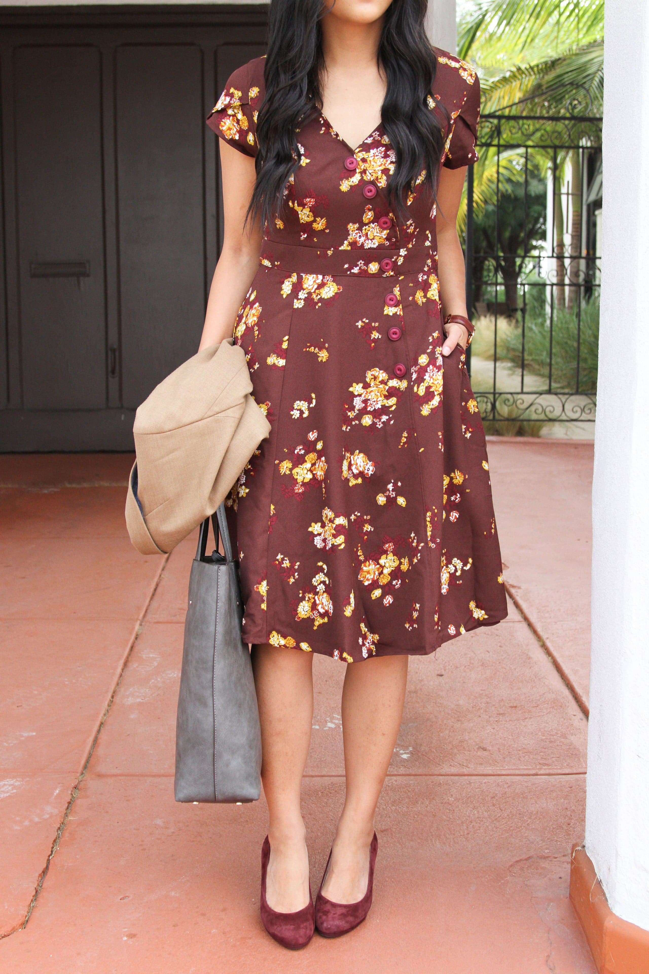 Maroon floral dress + Maroon heels + Grey Tote