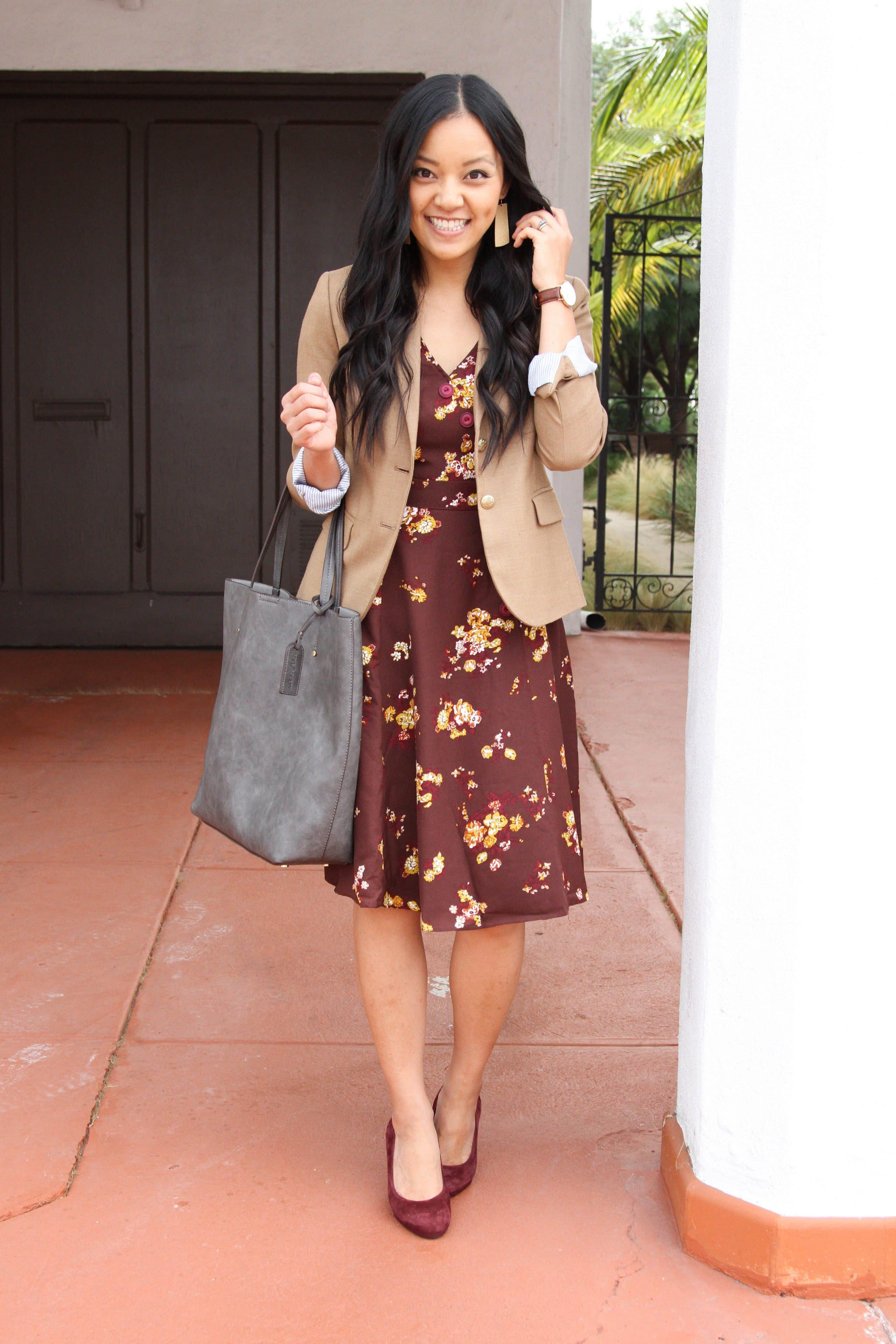 Maroon Floral Dress + Camel Blazer + Heels + Tote + Gold Earrings