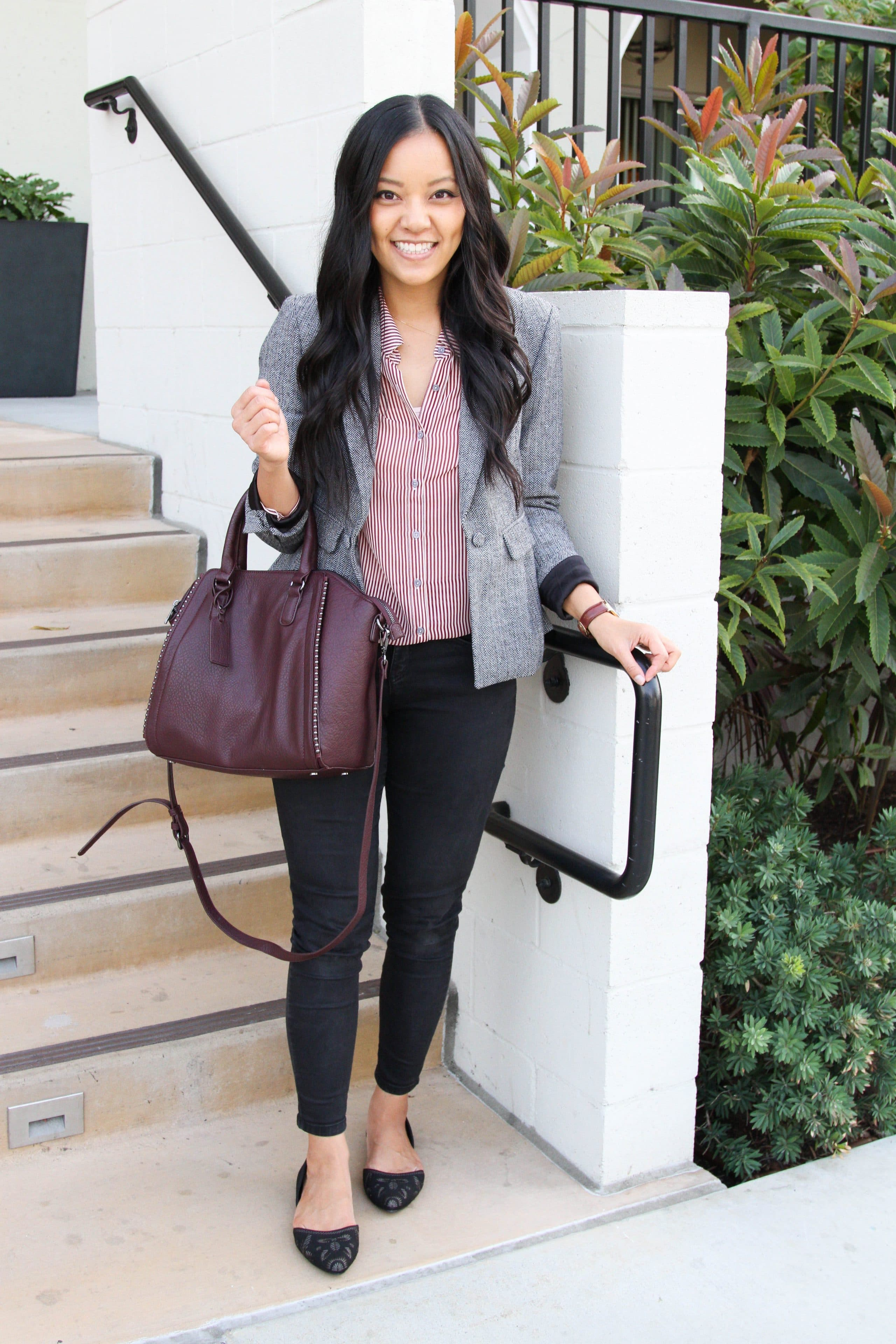 Grey Blazer + Black Skinnies + Black Flats + Wine Bag + Striped Blouse