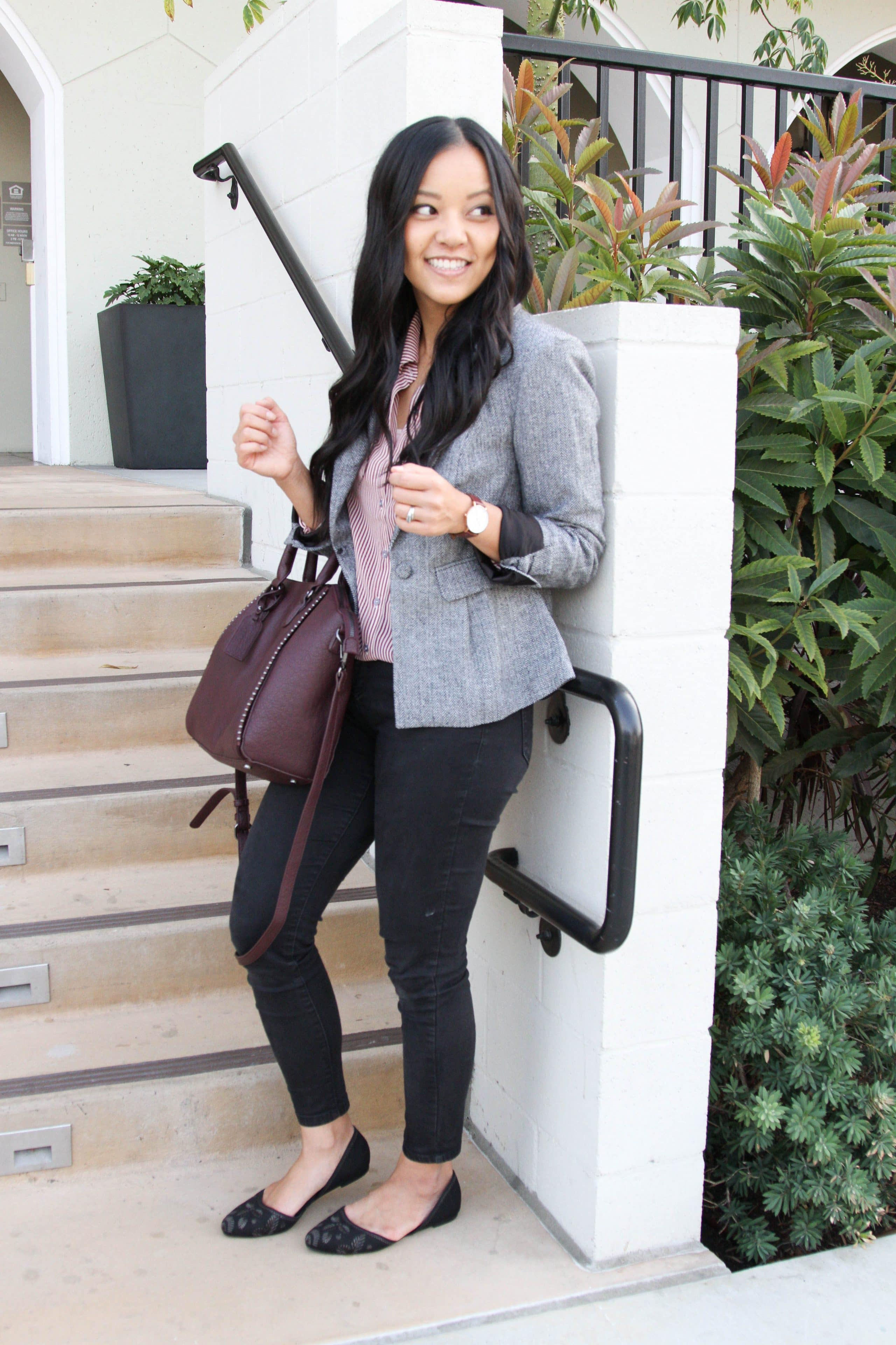Grey Blazer + Maroon Stripe Blouse + Black Skinnies + Wine Colored Tote + Black Flats