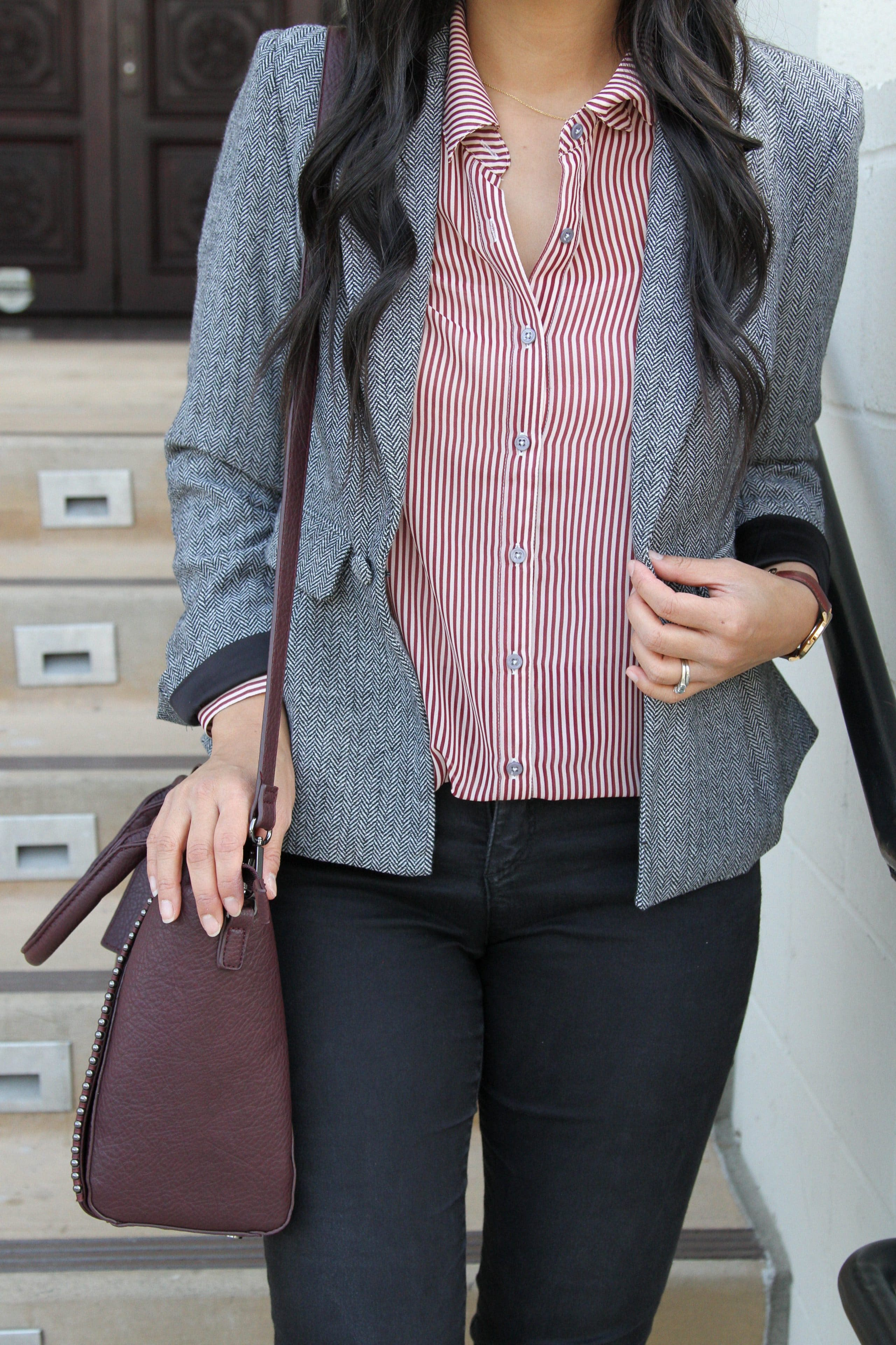 Striped Blouse + Grey blazer + Black Skinnies + Maroon Bag