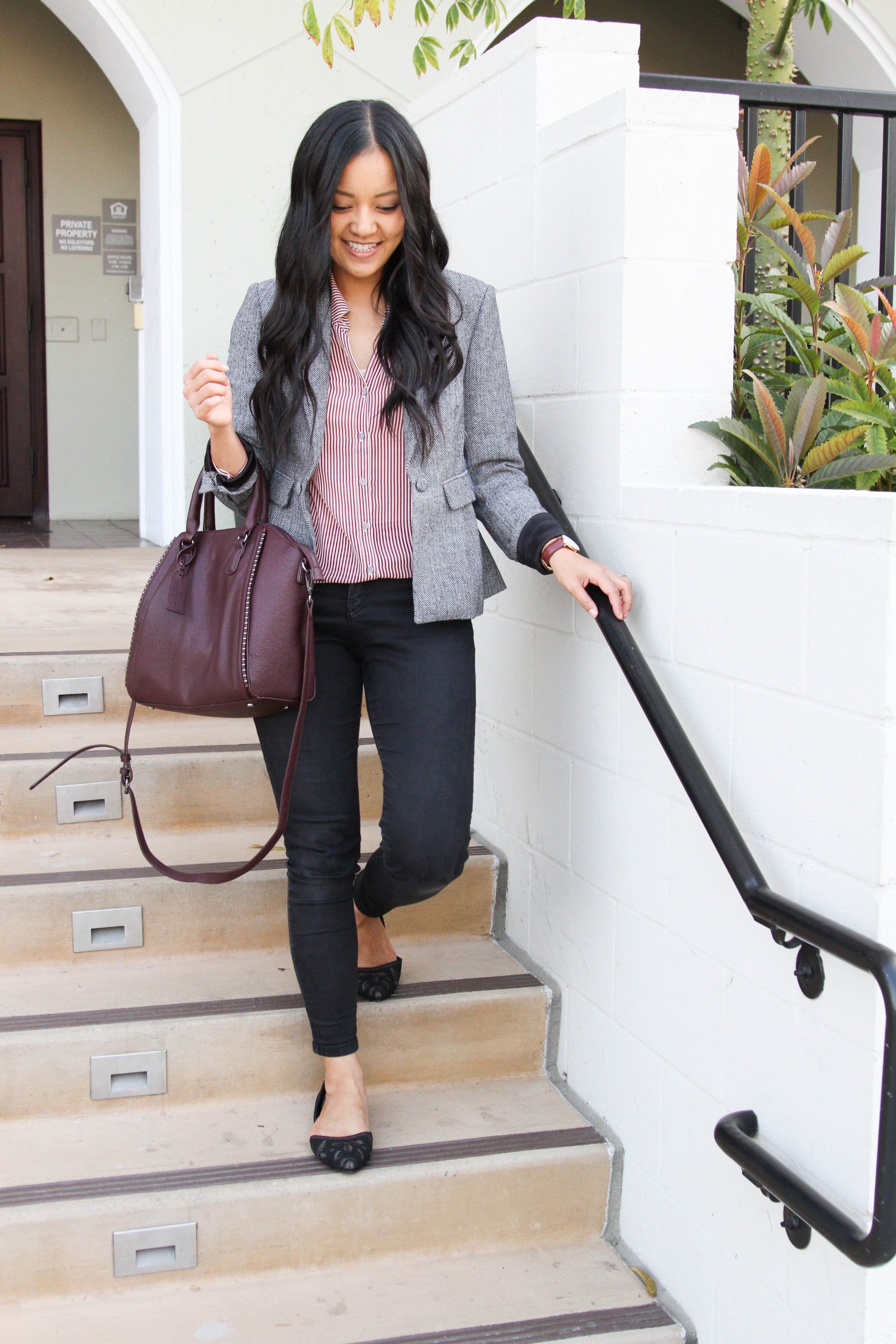 Maroon Stripe Blouse + Grey Blazer + Black Skinnies + Black Flats + WIne Bag