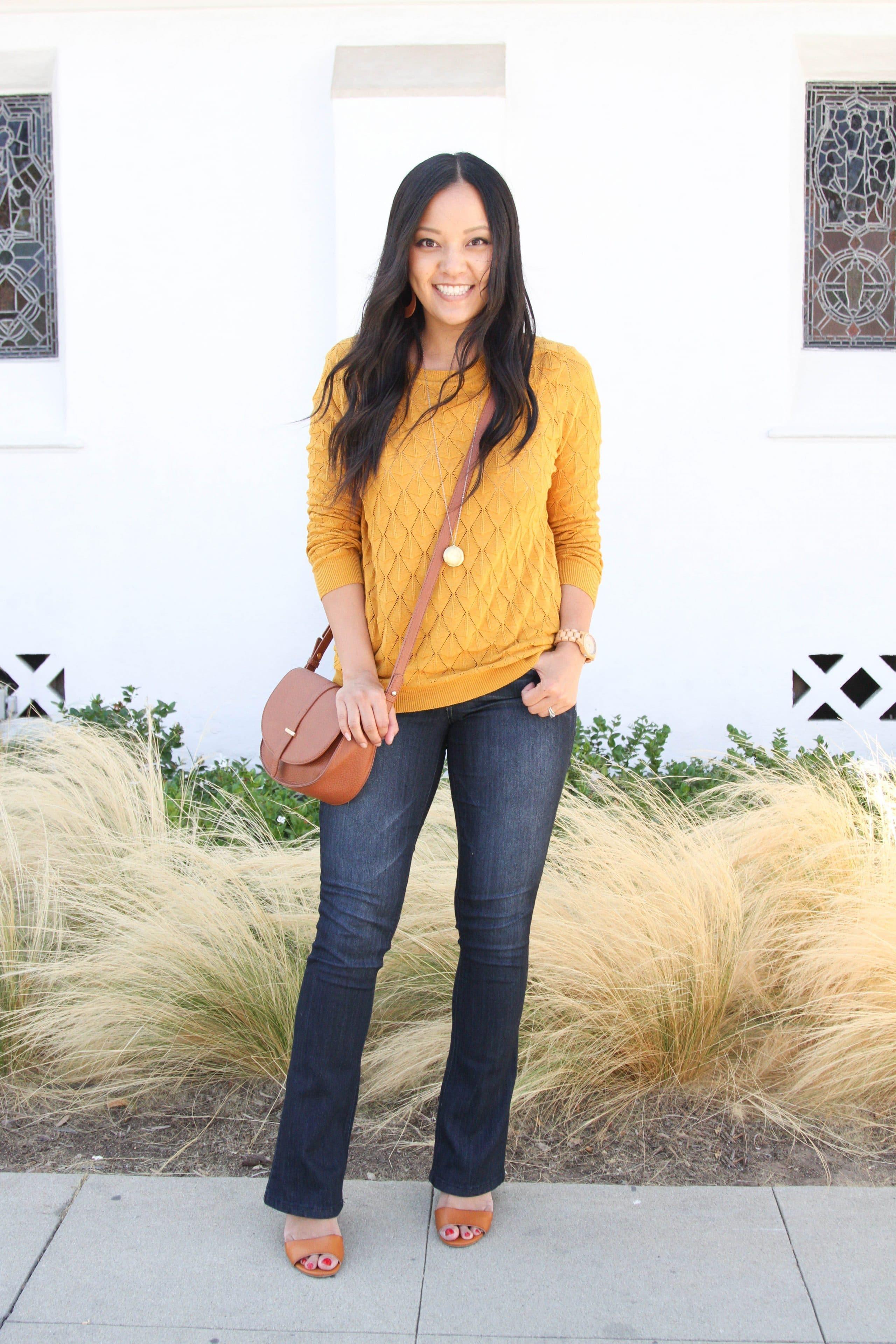 Mustard Sweater + Bootcut Jeans + Heels + Cognac Bag