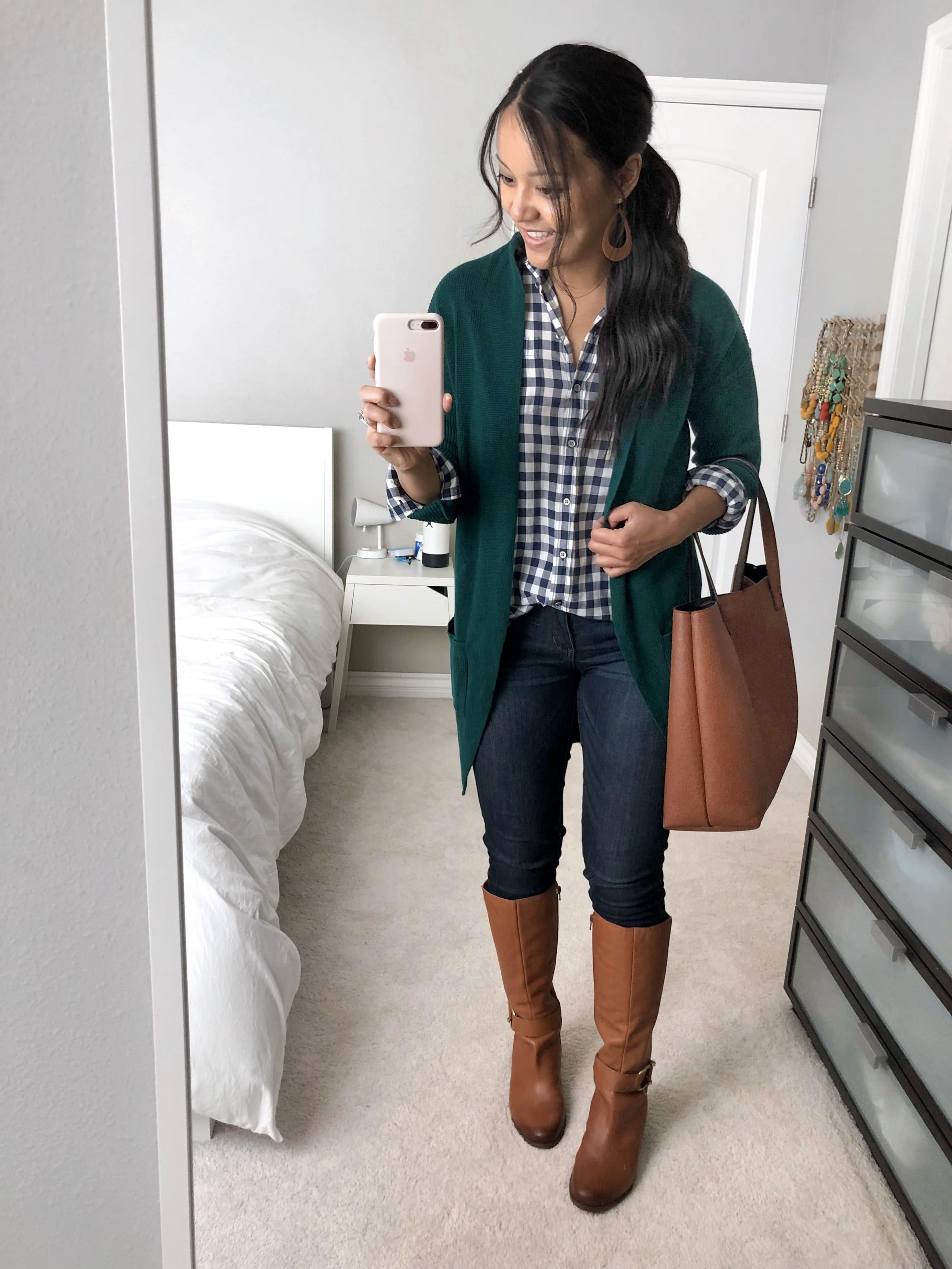 Emerald Cardigan + Gingham top + Tote + Riding Boots + Skinnies
