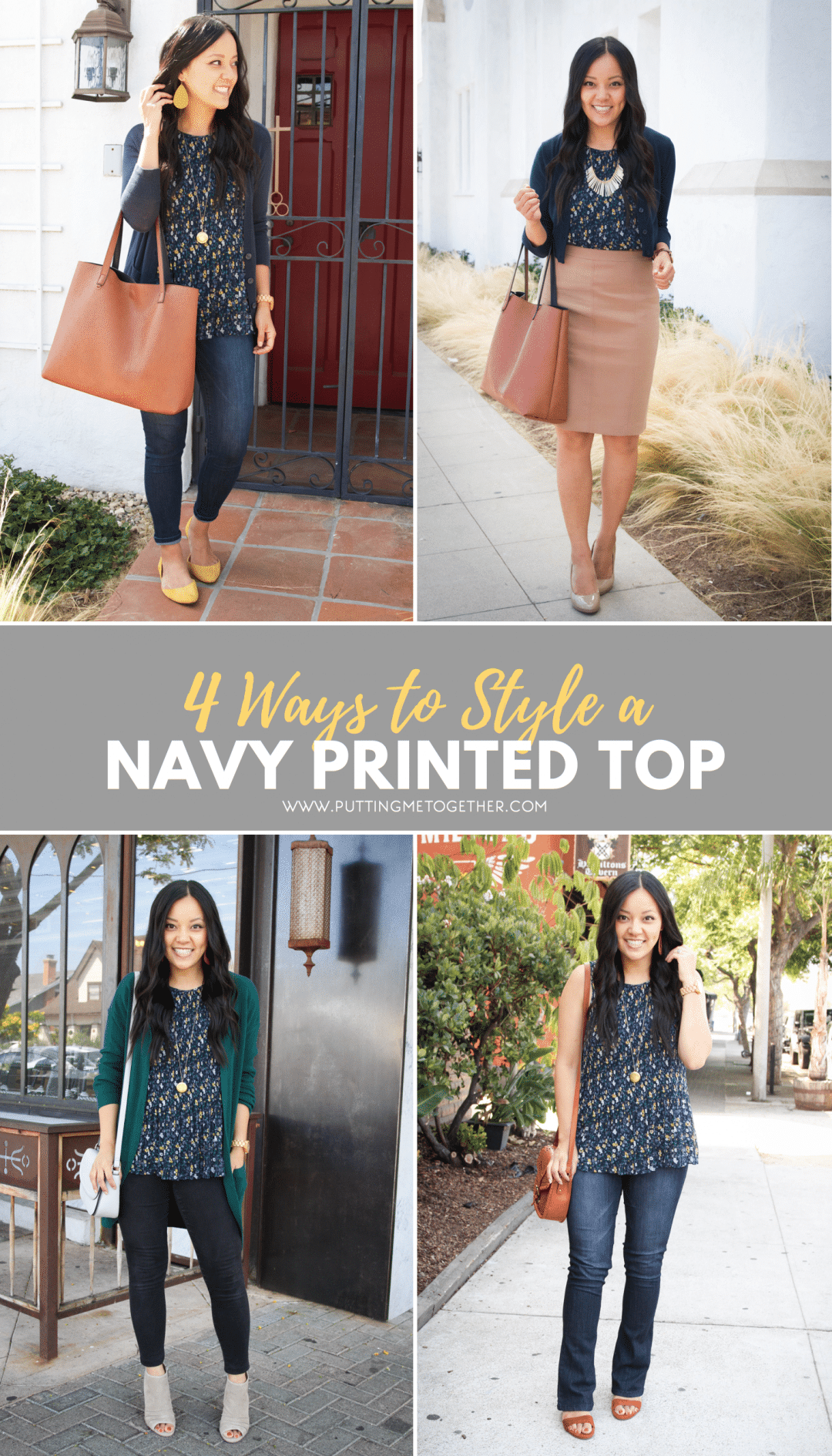Outfits with a Navy Printed Top
