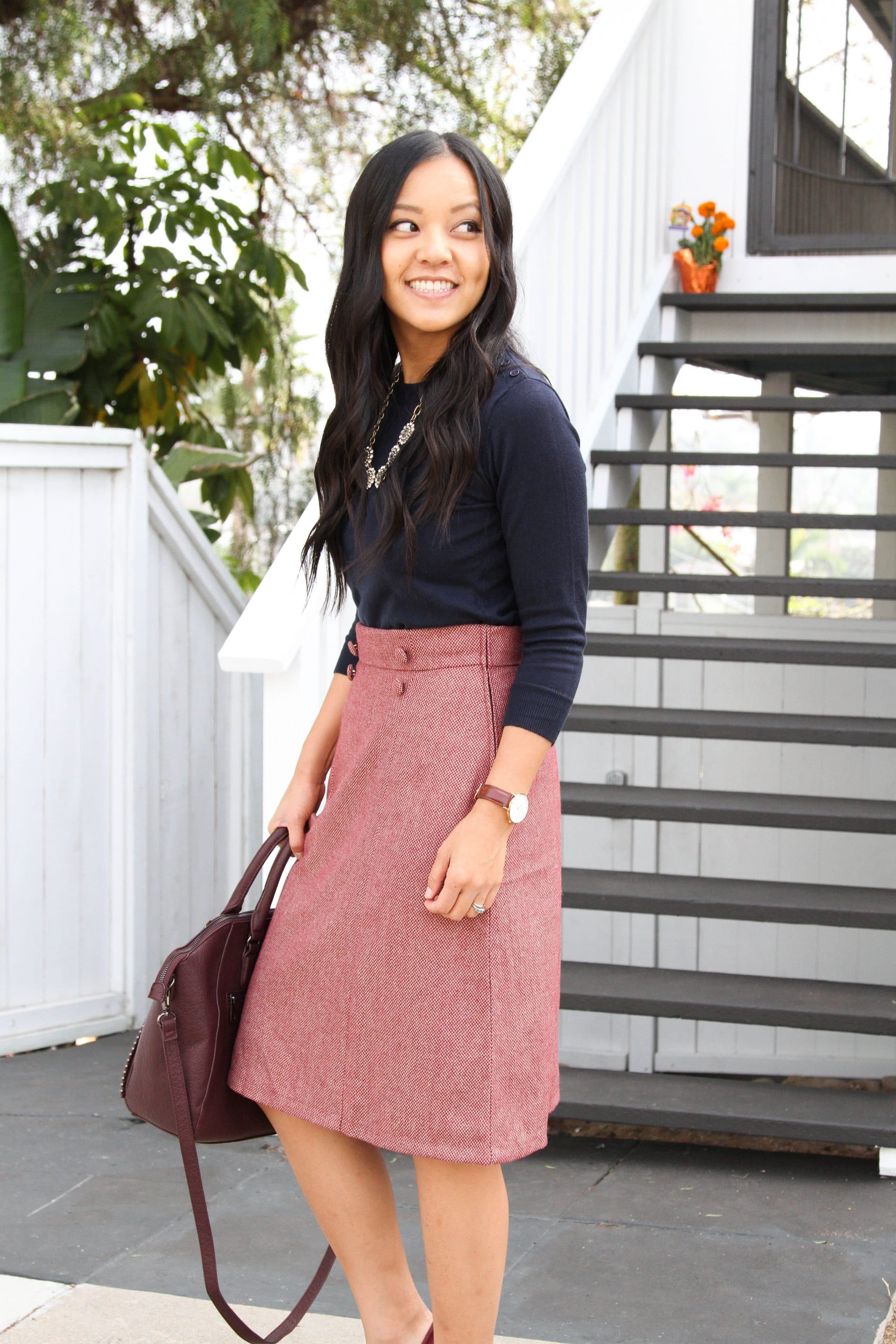 Navy Sweater + High waist Skirt + Wine Colored Bag + Statement Necklace