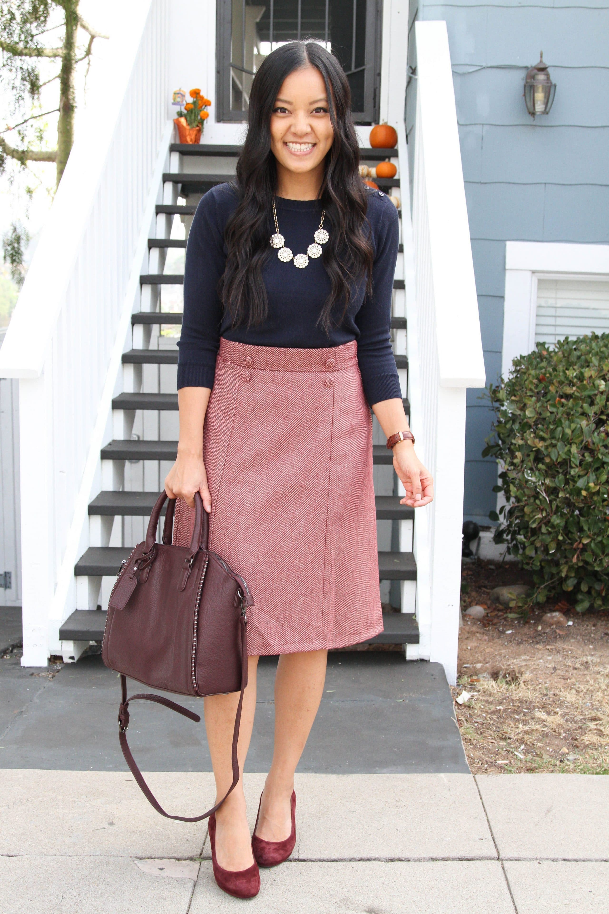 Navy Sweater + Statement Necklace + Maroon Skirt + Heels