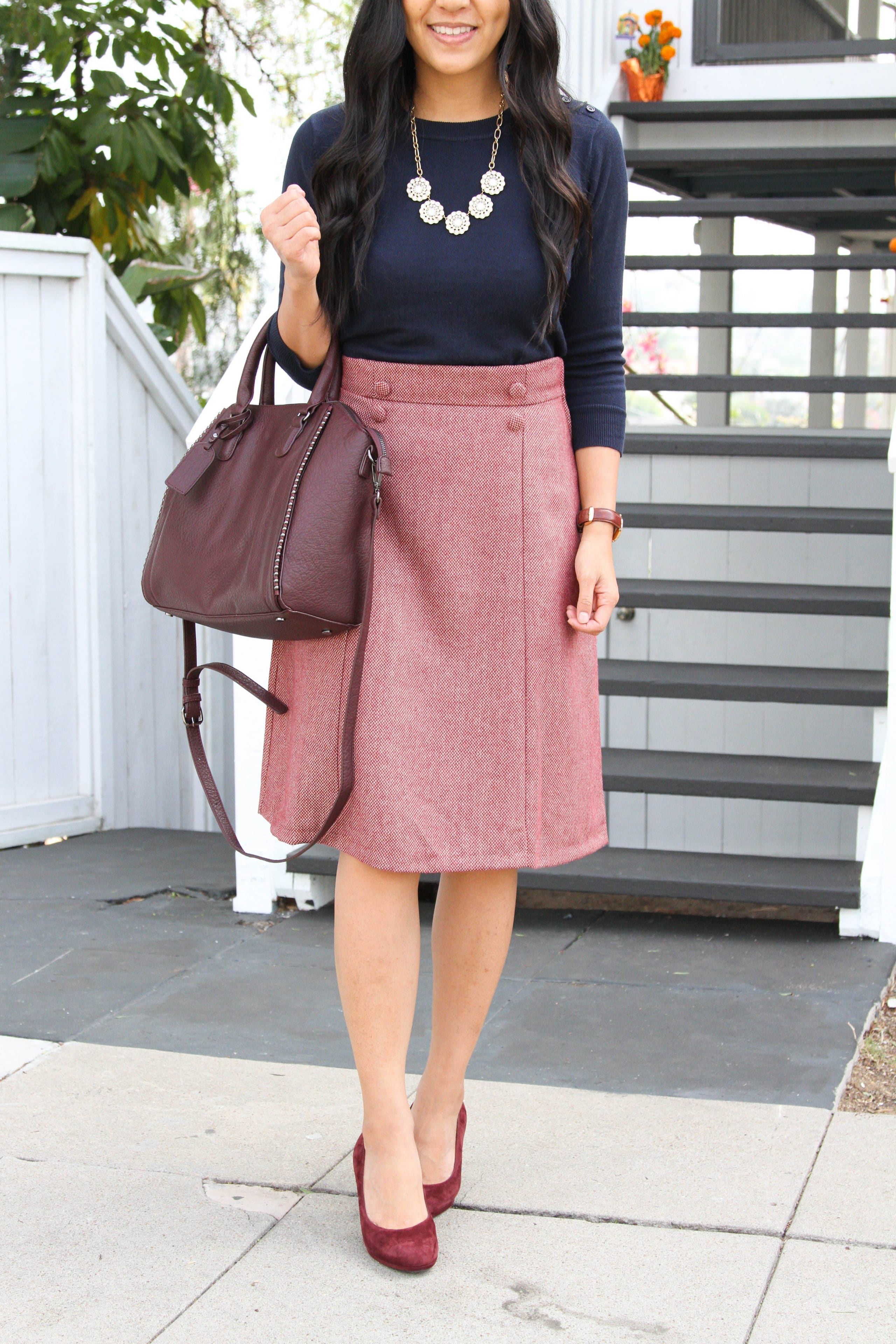 Maroon Heels + A-Line Skirt + Navy Sweater + Statement Necklace