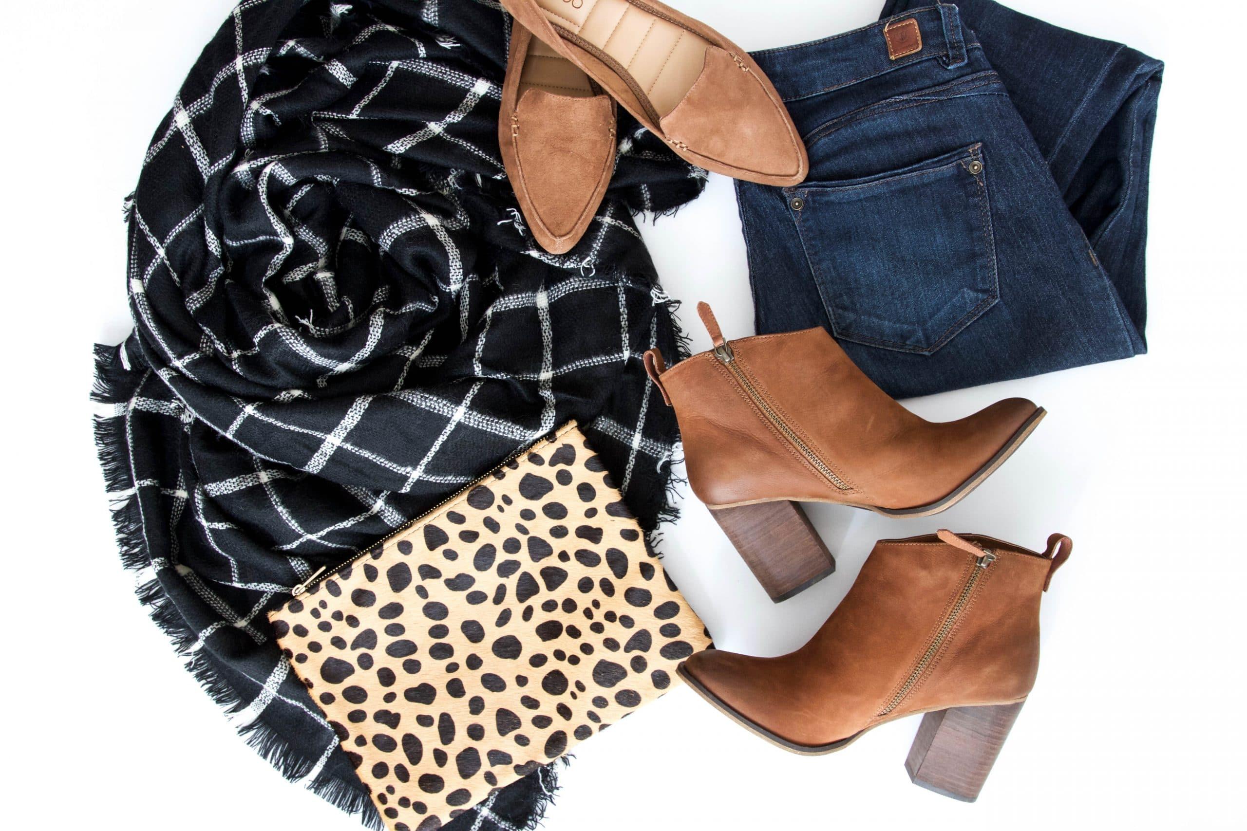 Scarf + Leopard Clutch + Booties + Wit & Wisdom Jeans