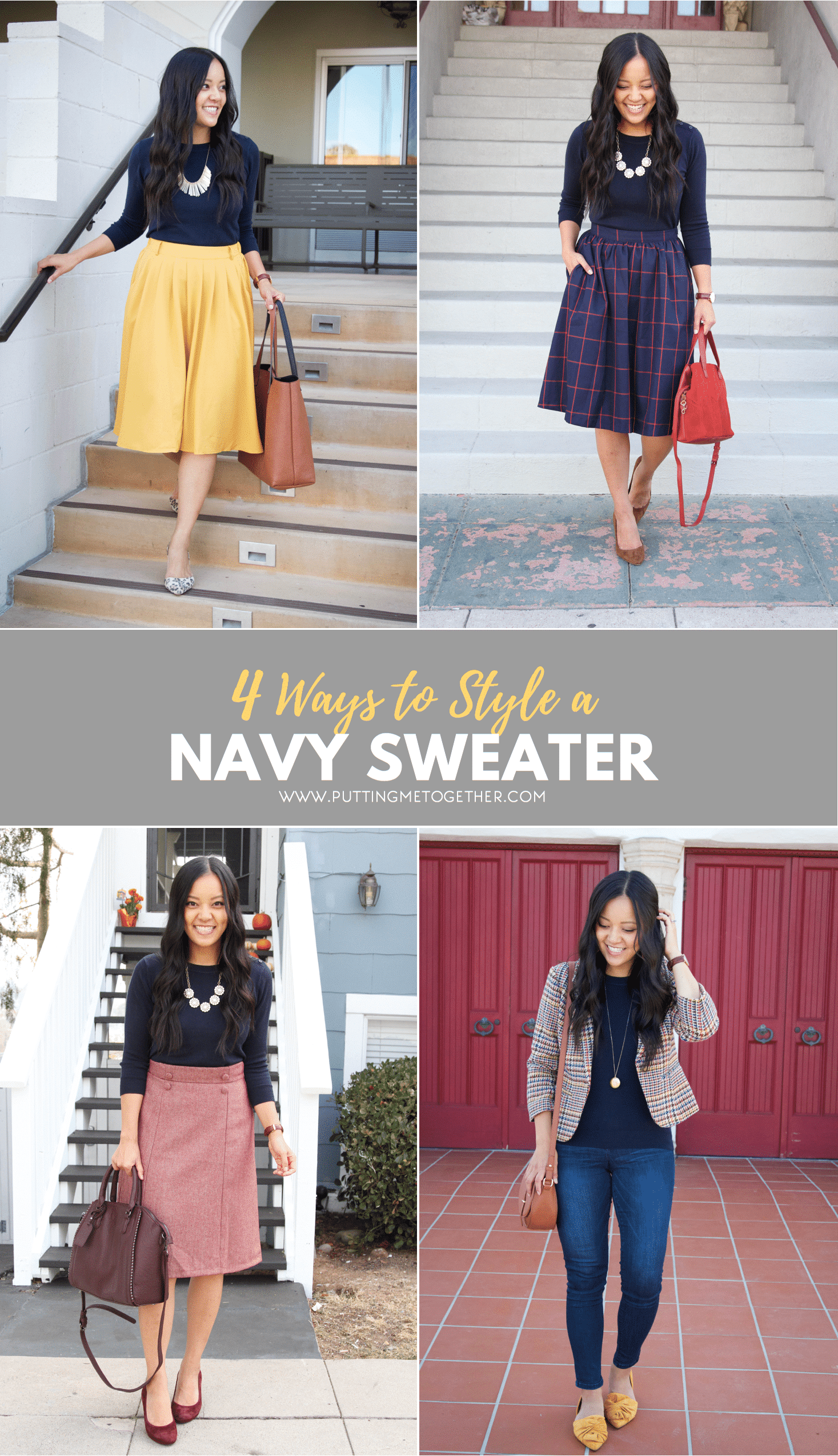 Fall Outfits With a Navy Sweater