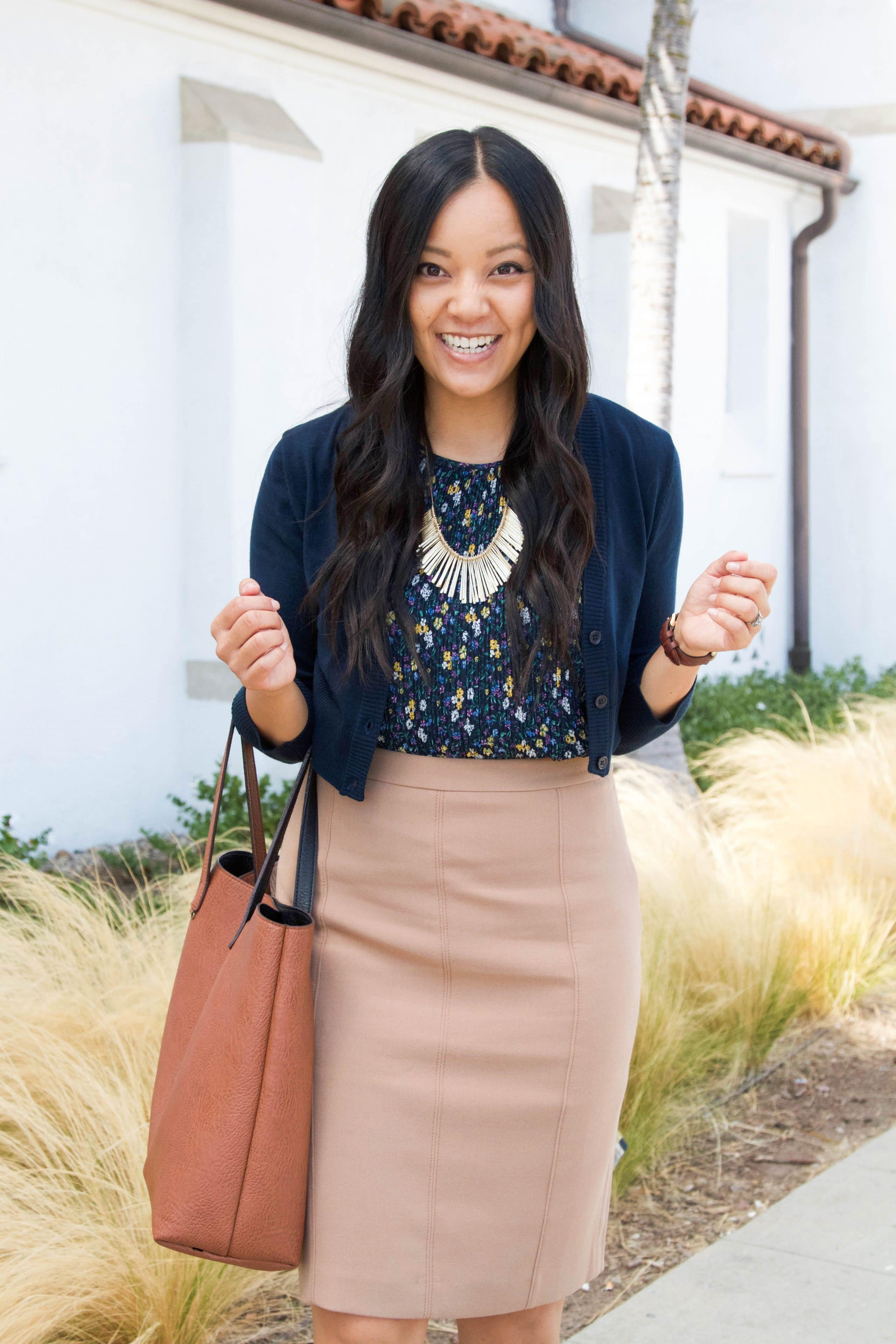Navy cardigan + Pencil Skirt +Floral Blouse + tote