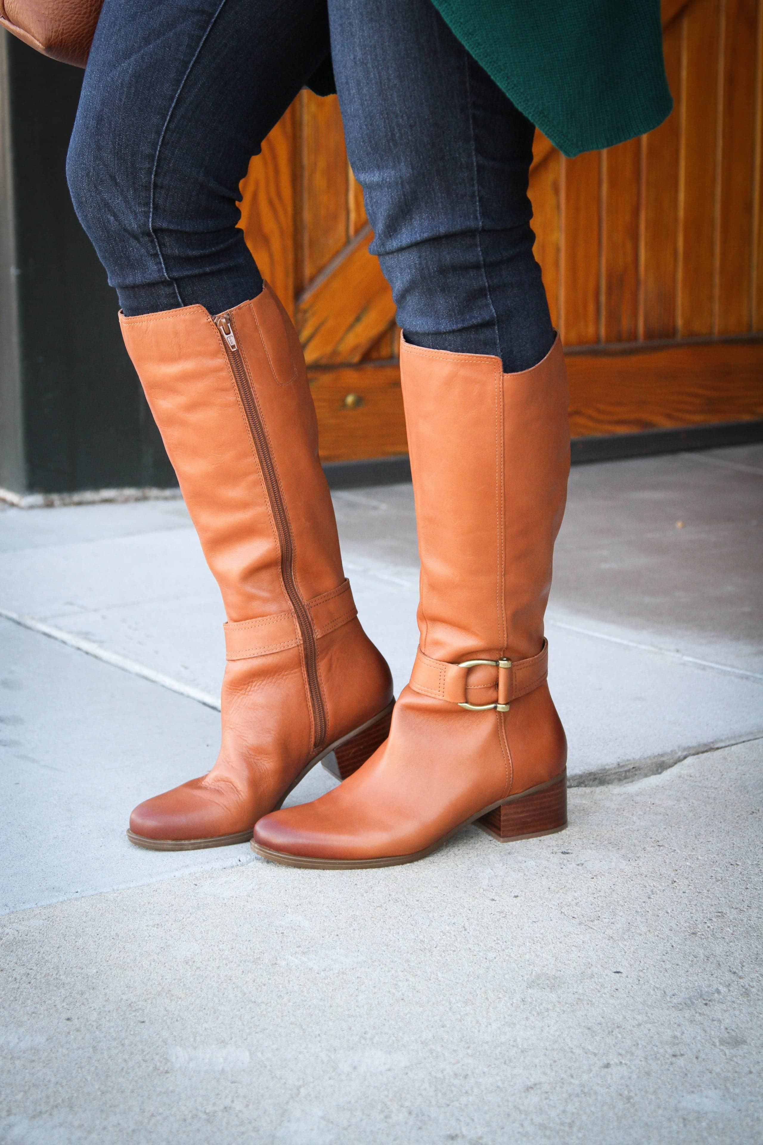 Cognac Riding Boot and Skinny Jeans