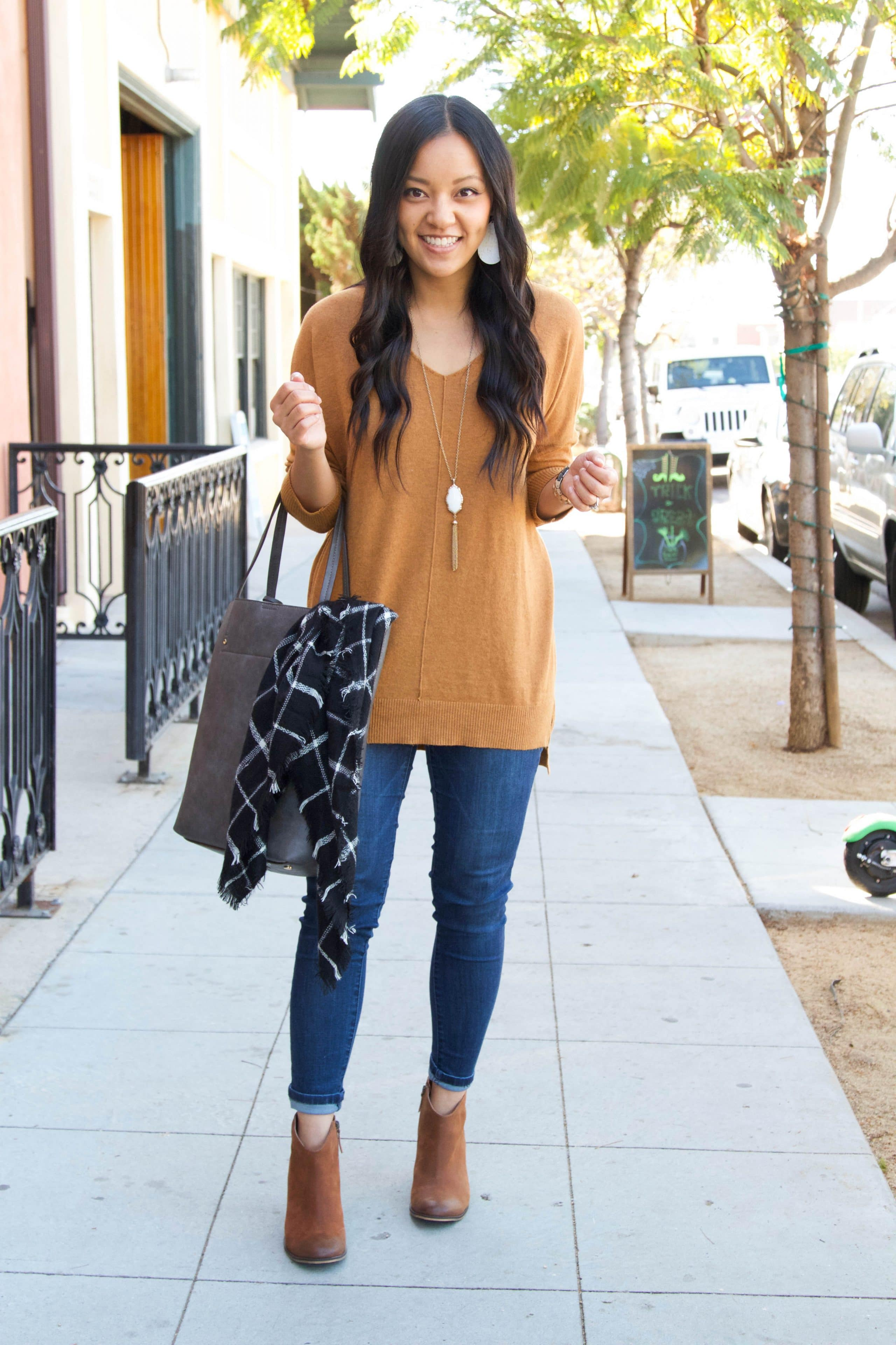 Brown Dreamers Sweater + Skinnies + Booties + Tote + White Accessories