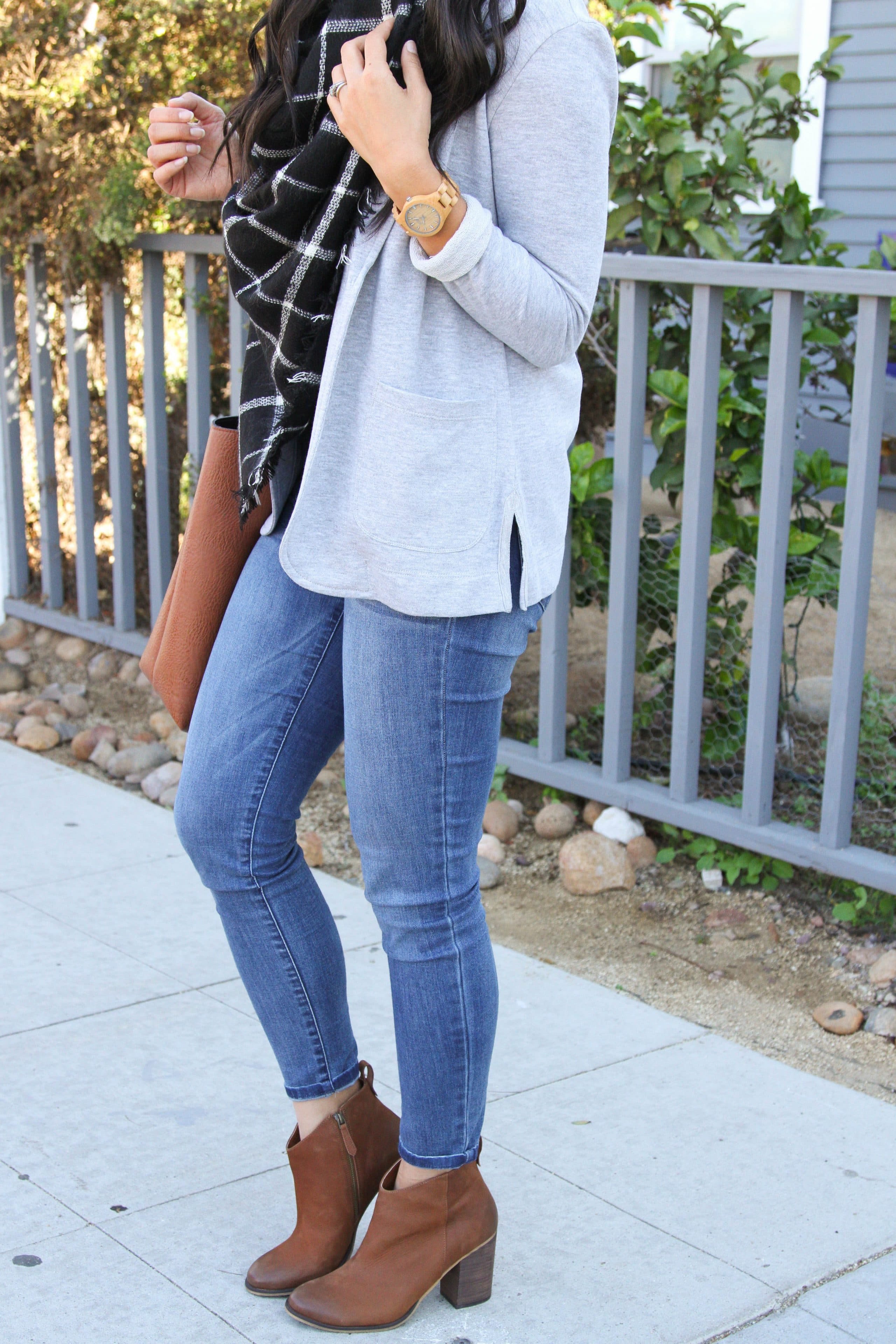 Gray Blazer + Blanket Scarf + Skinnies + Heeled Booties