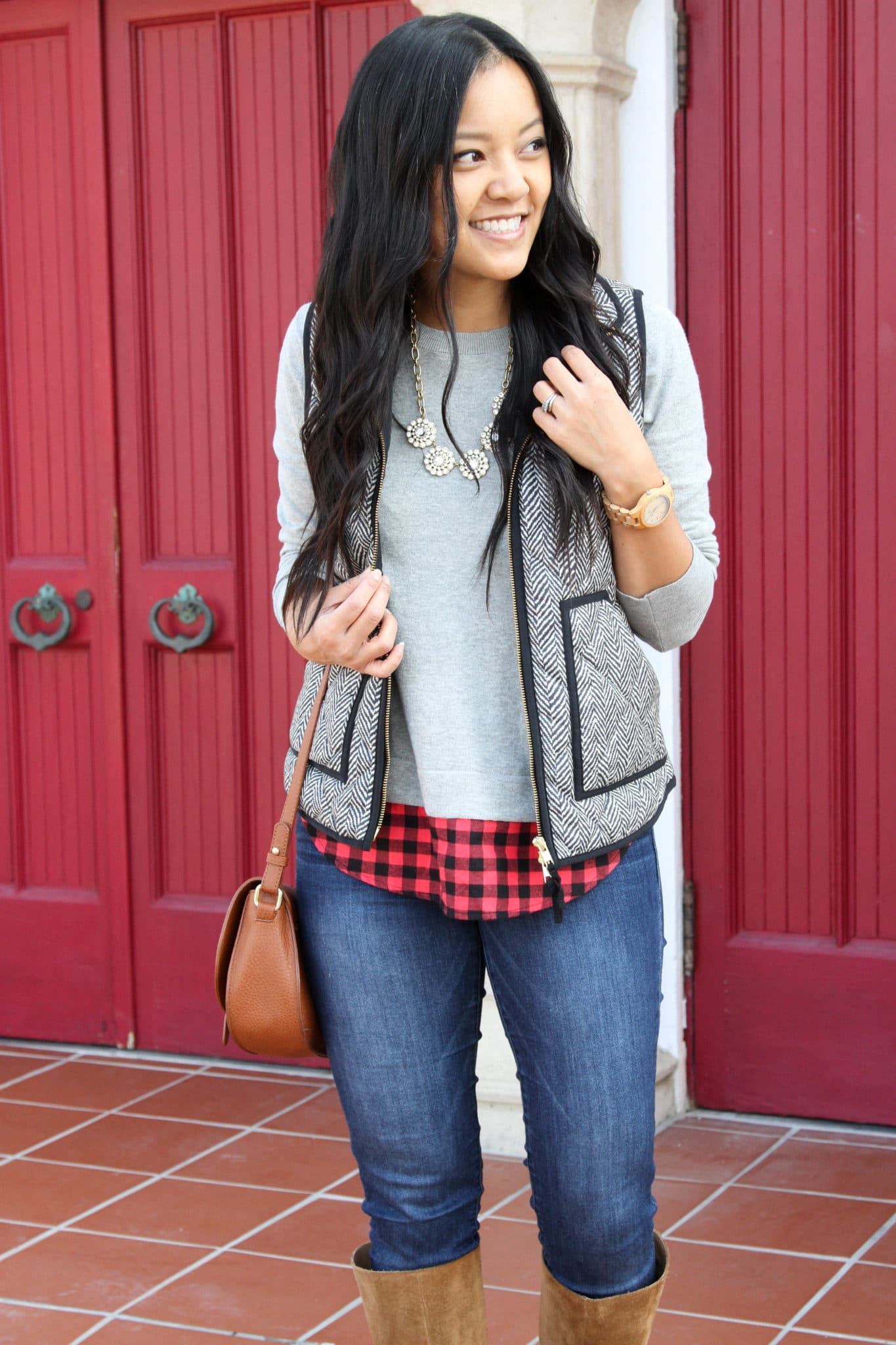 Statement Necklace + Grey and Black Vest + Sweater + Skinnies + Boots