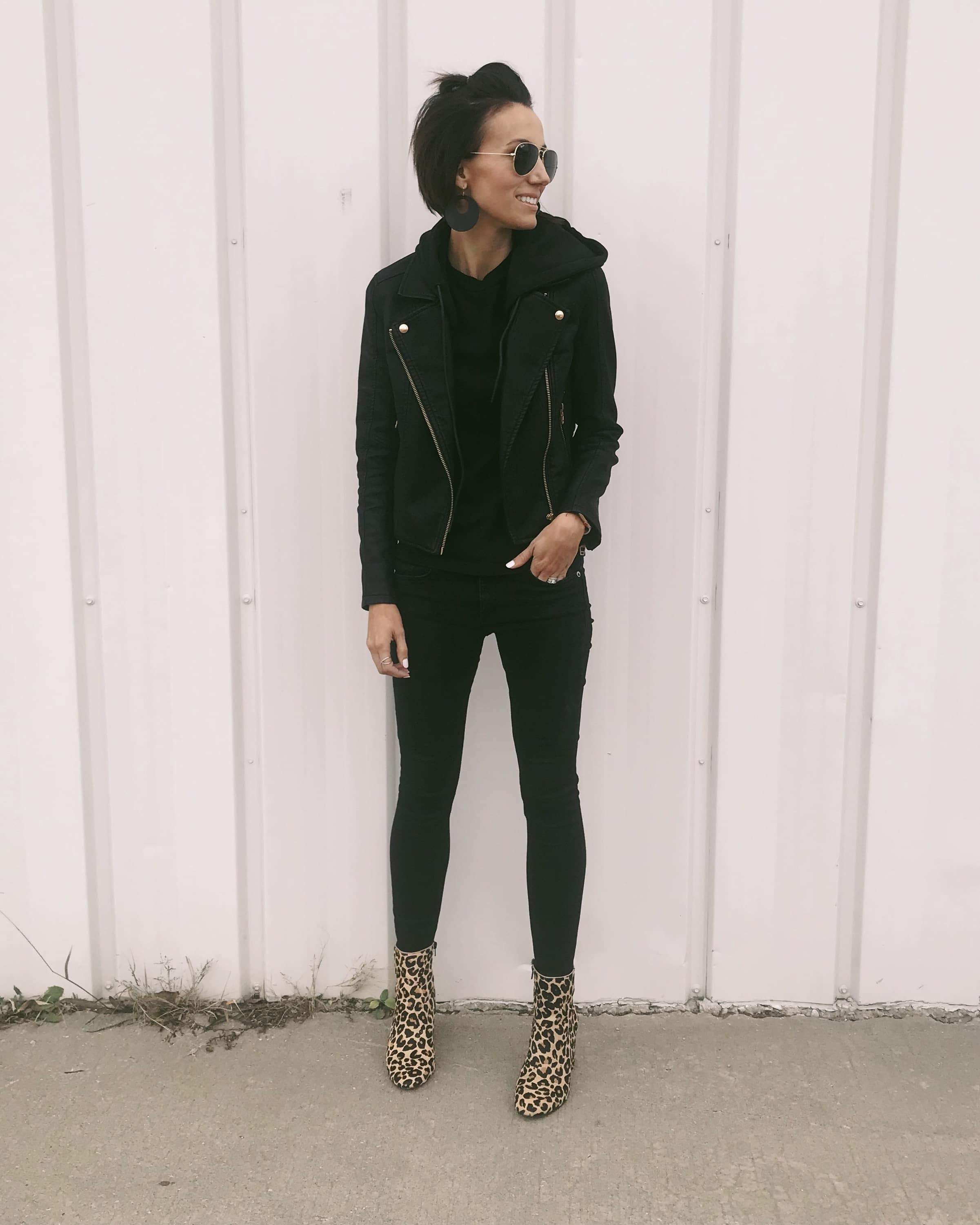 Black Moto Jacket + Black Jeans + Leopard Booties