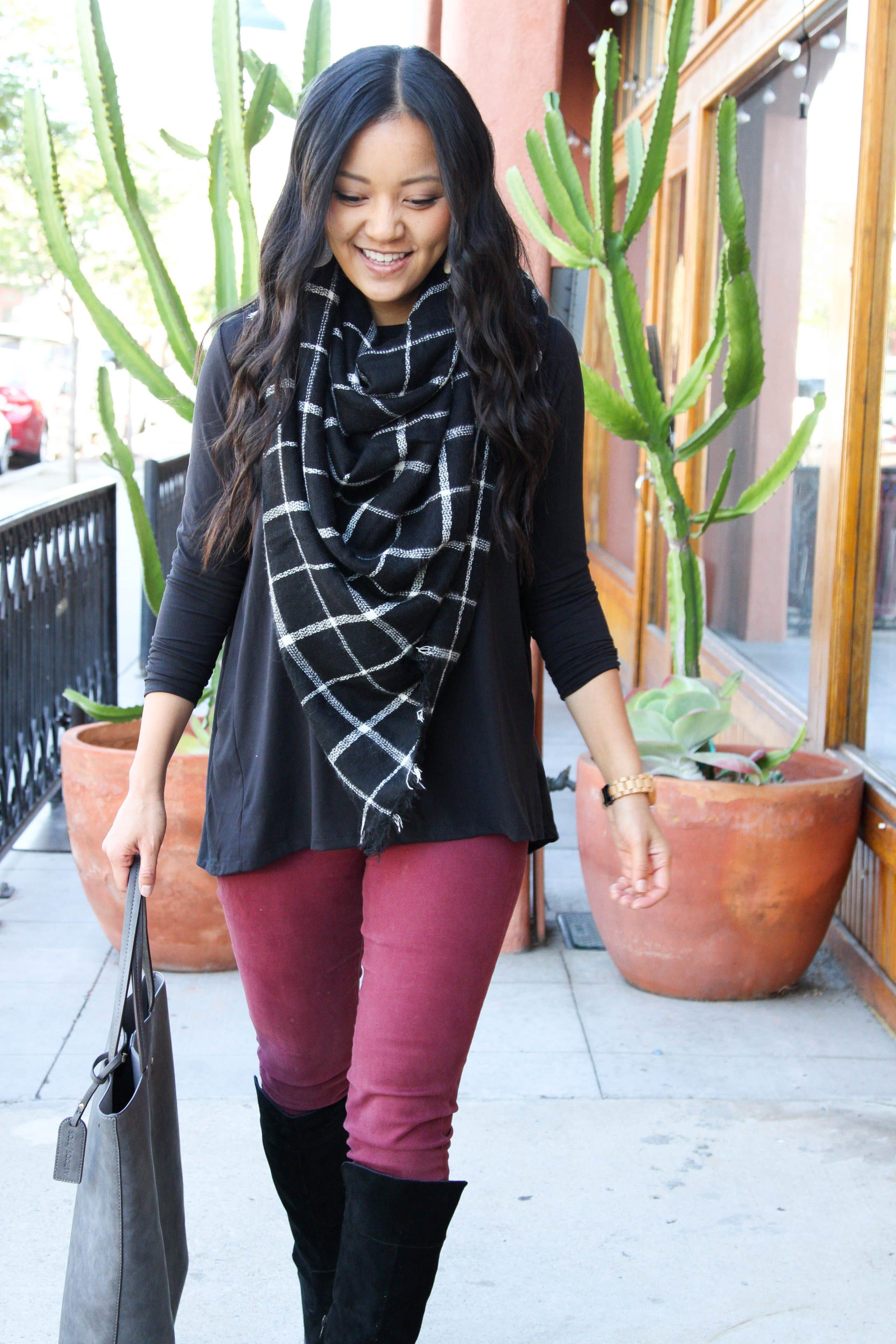 Black Boots + Black Shirt + Blanket Scarf + Maroon Pants + Gray Tote