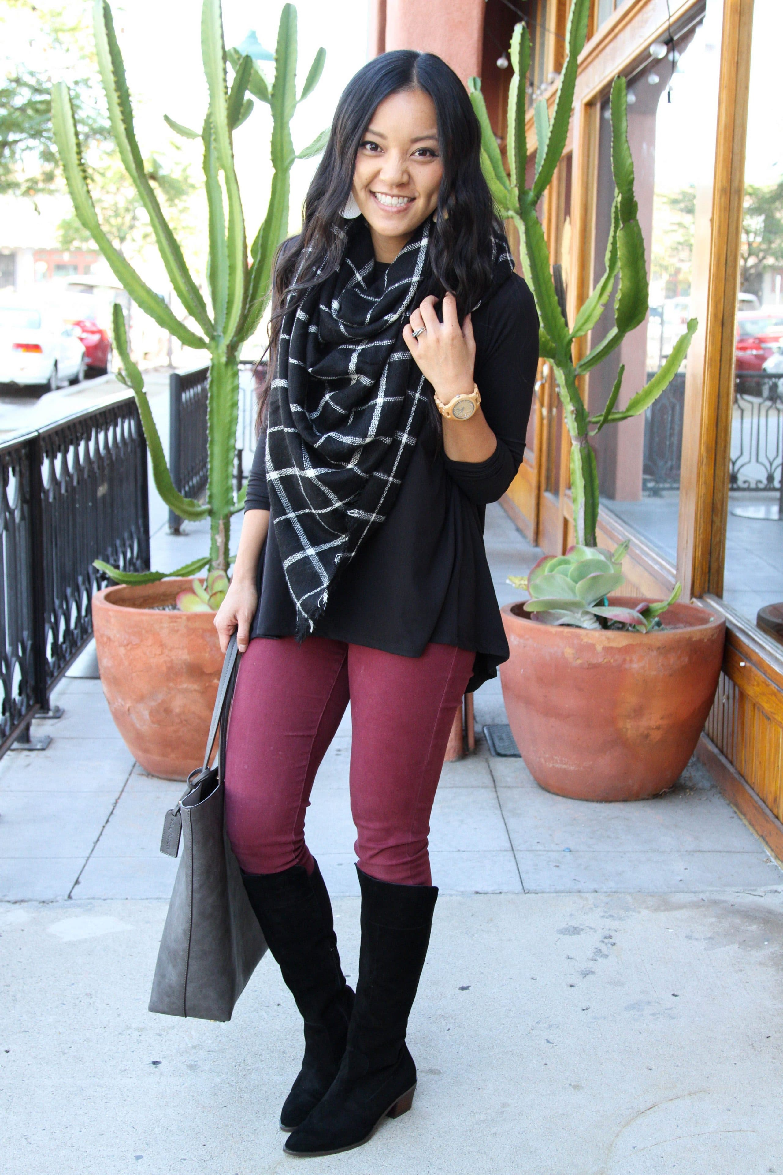 Blanket Scarf + Maroon Pant + Black Boots + Gray Tote