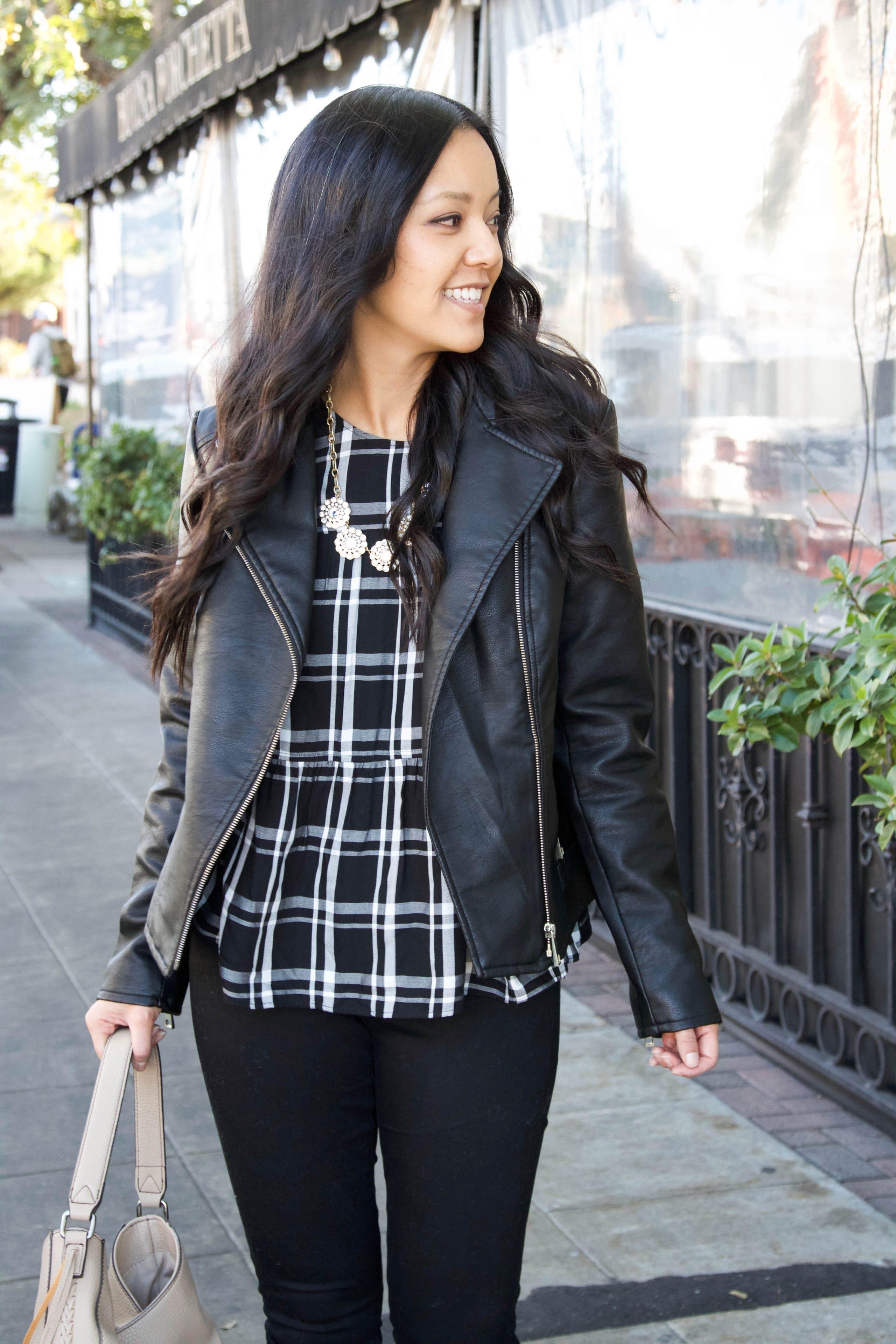 Black Plaid top + Black Moto + tan jacket + statement necklace