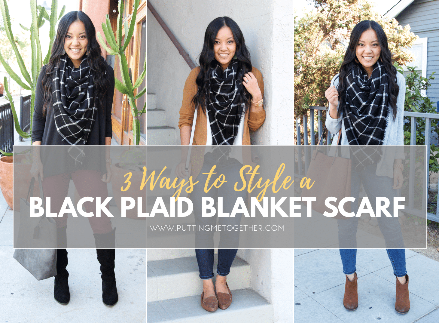 Outfits With a Black Plaid Blanket Scarf