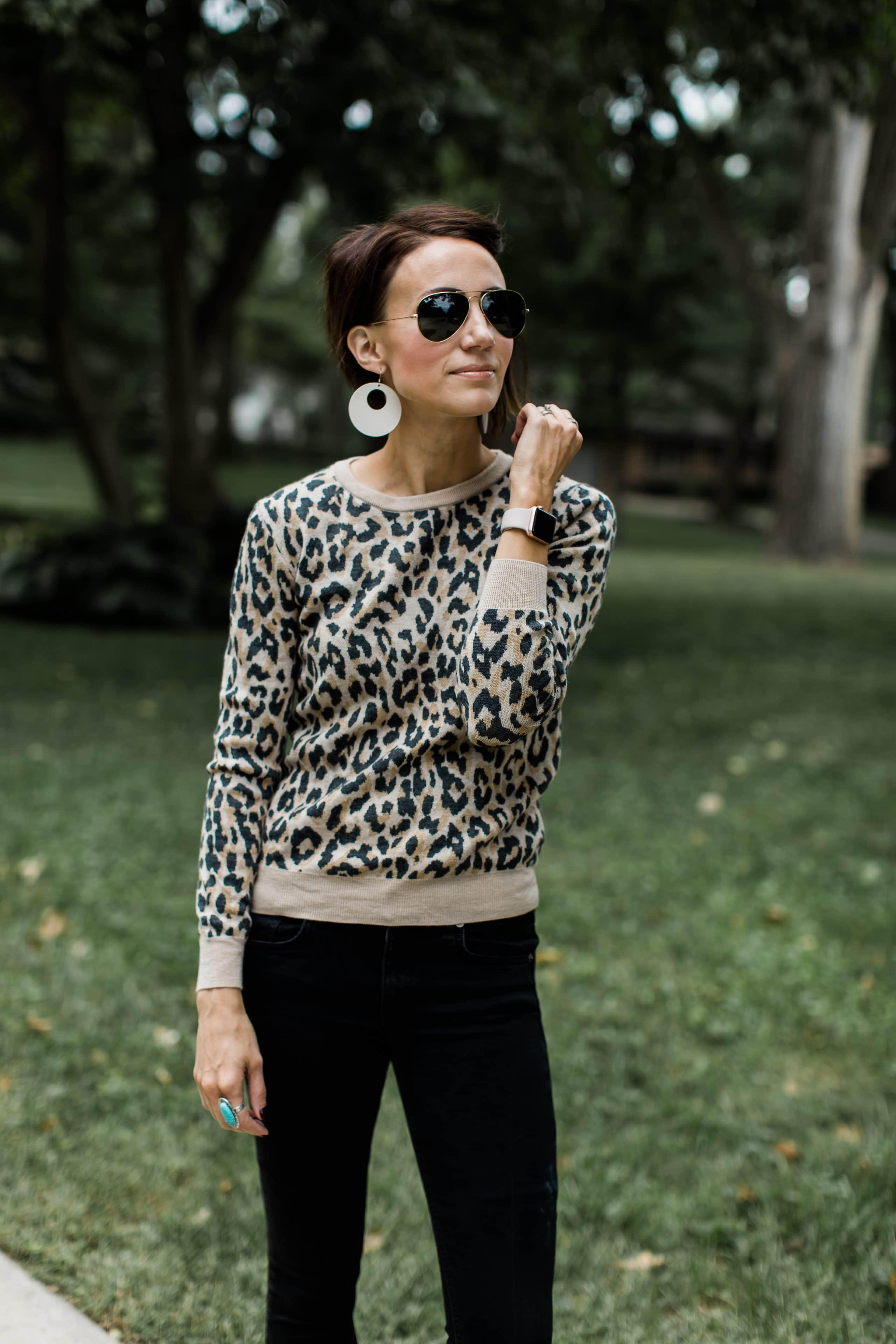 Black Jeans + Leopard Sweater + White Statement Earrings