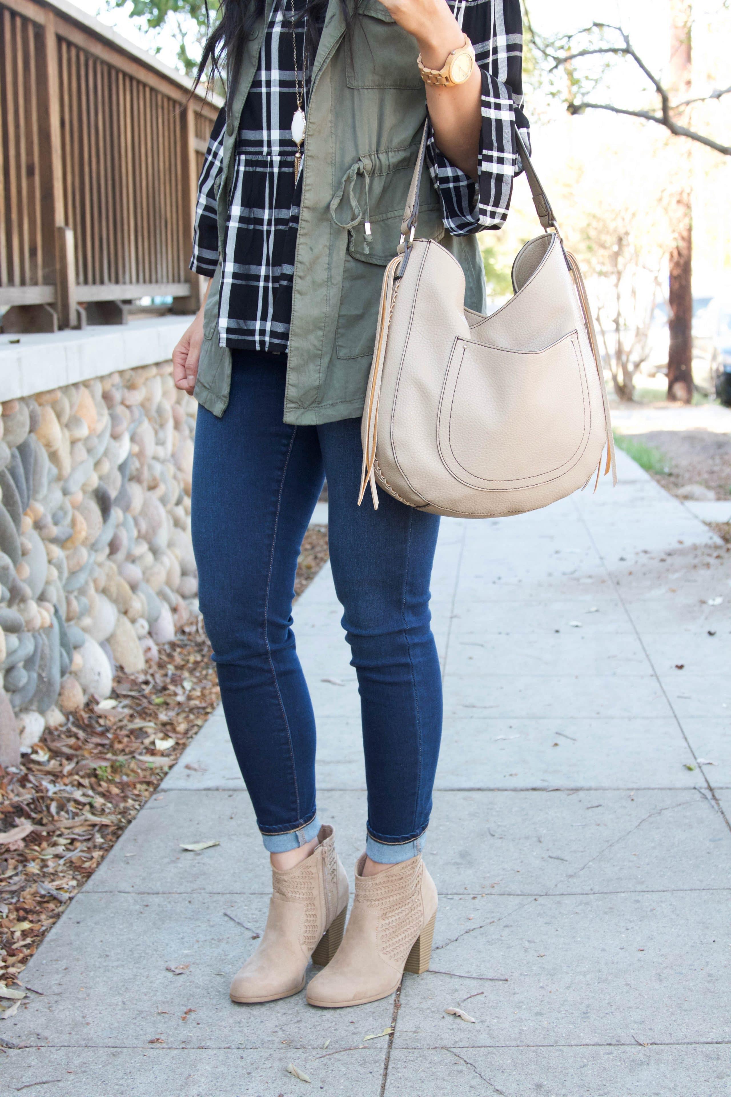 Skinnies + Booties + Tan bag + Vest + Plaid top