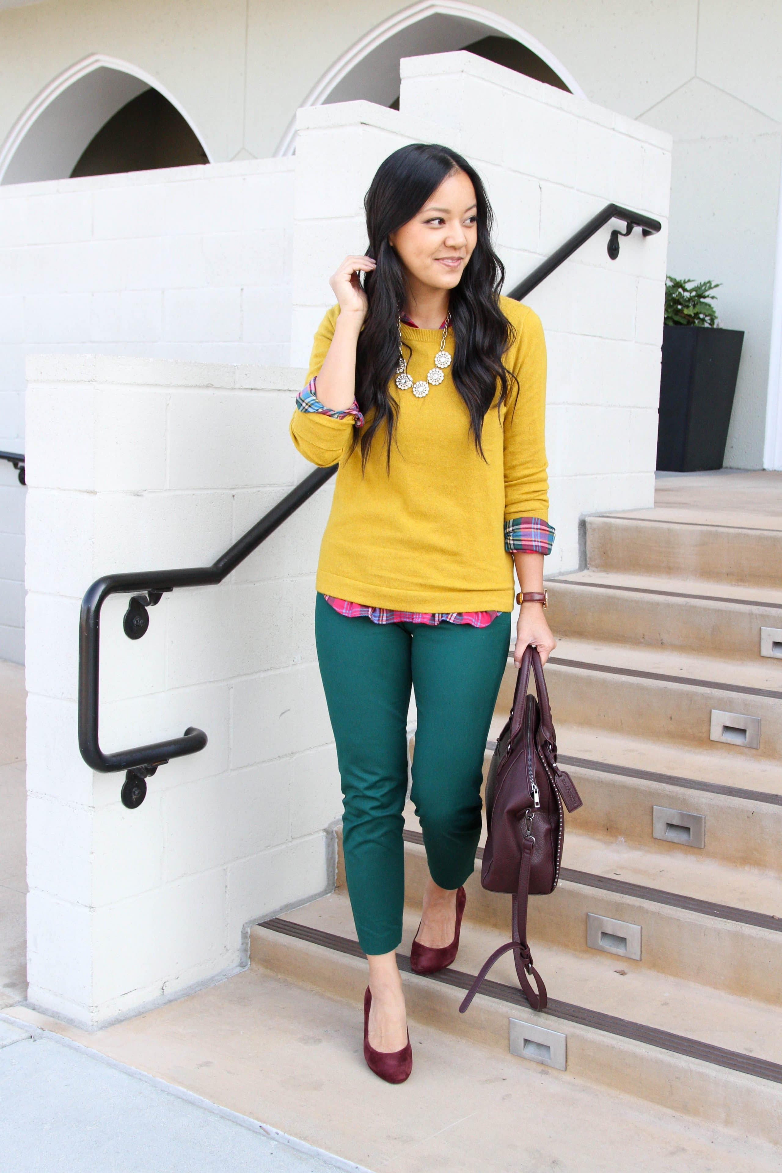 Yellow Sweater + Plaid top + maroon heels + bag