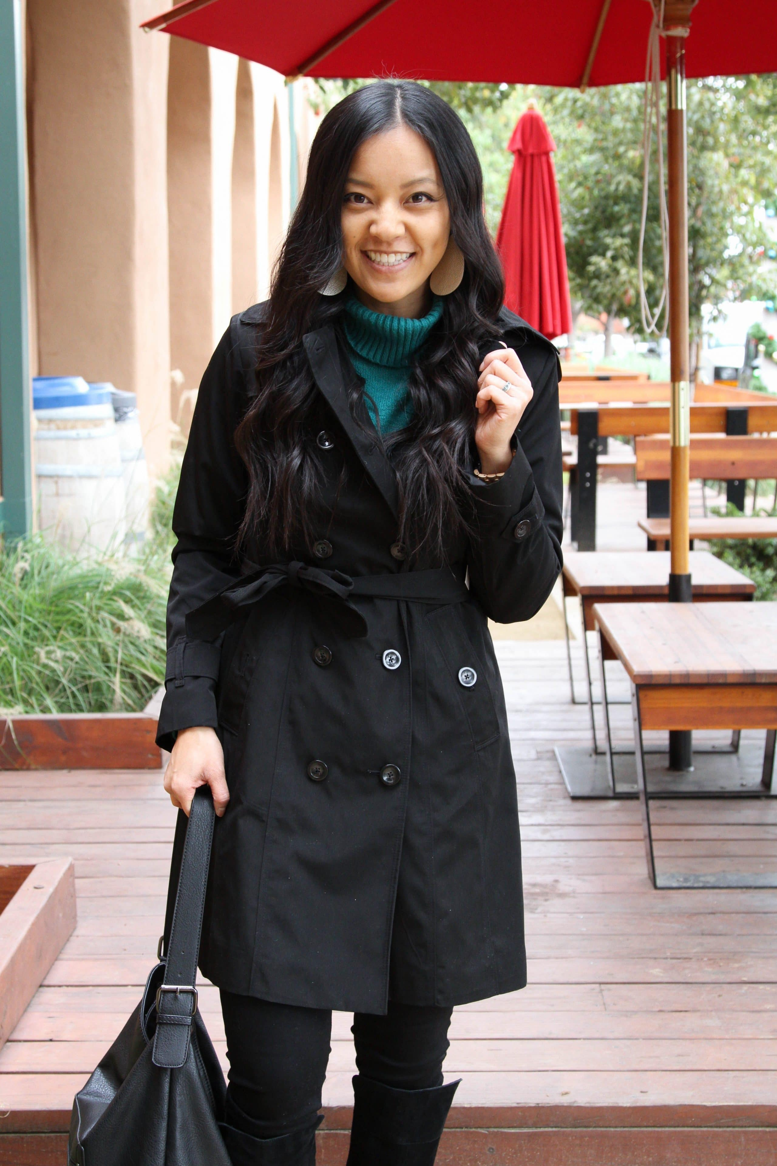 Black Trench Coat + Green Sweater + Black bag