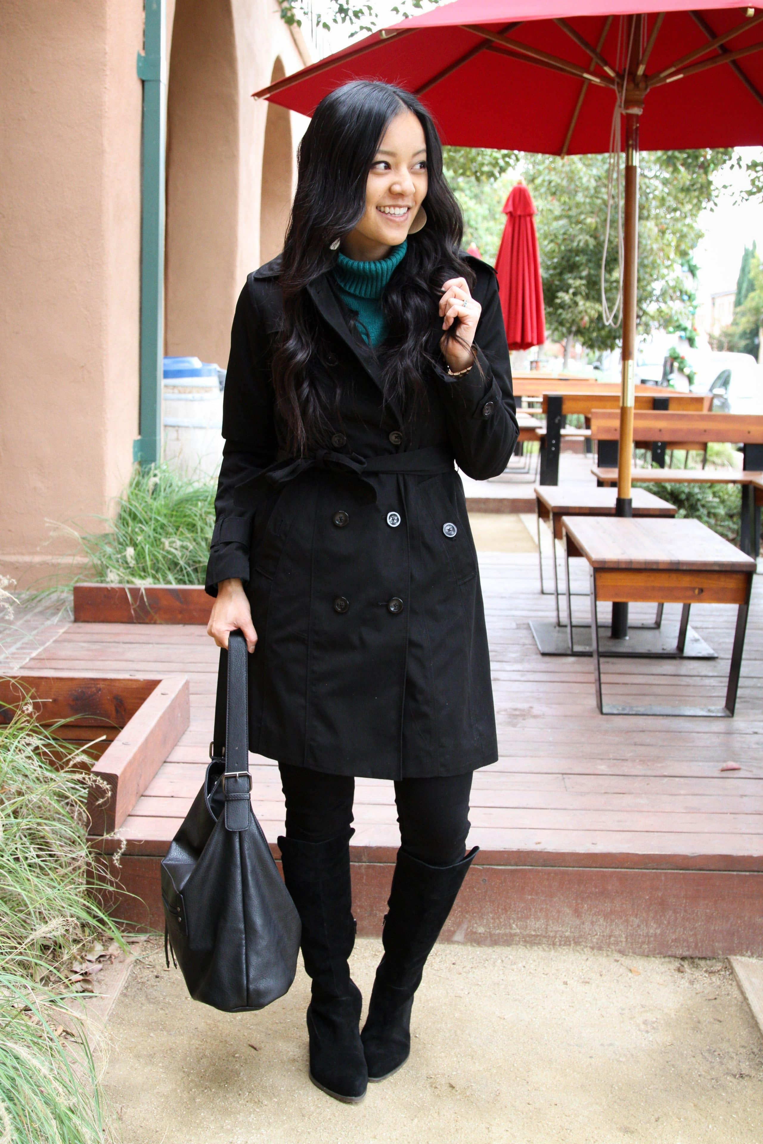 Black Trench + Black Jeans + Black Bag