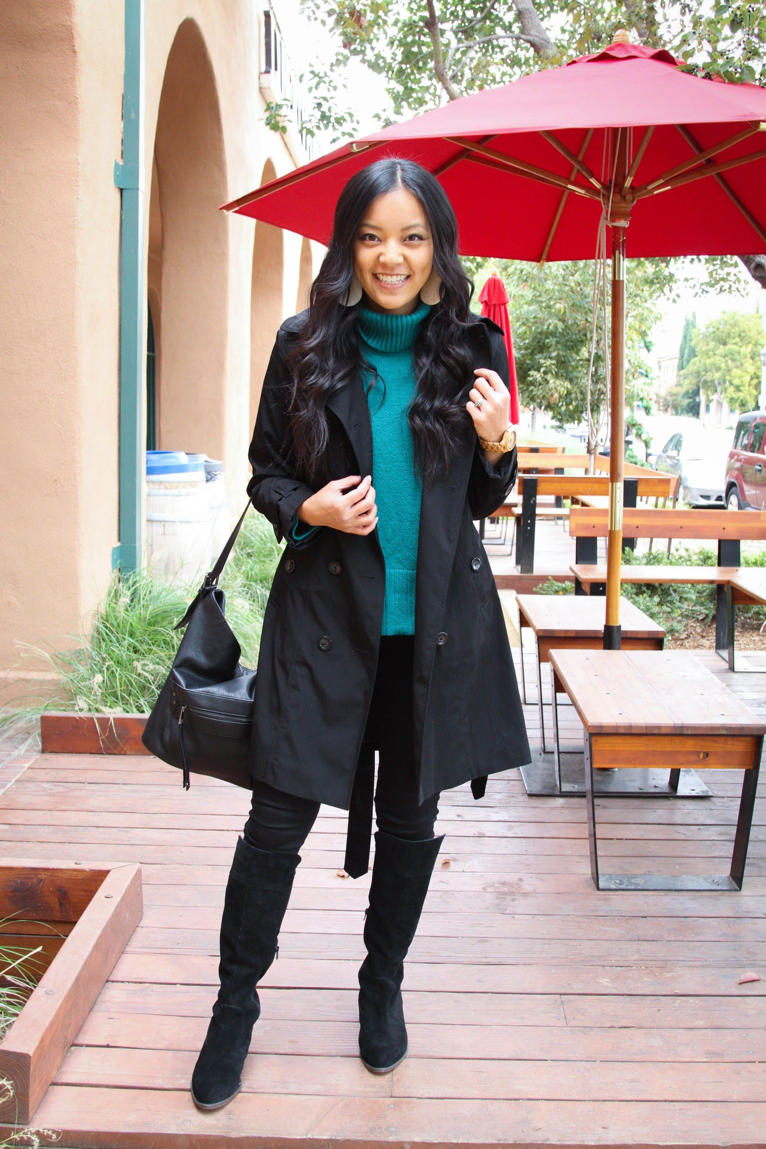 Black Skinnies + black Boots + trench coat + green sweater