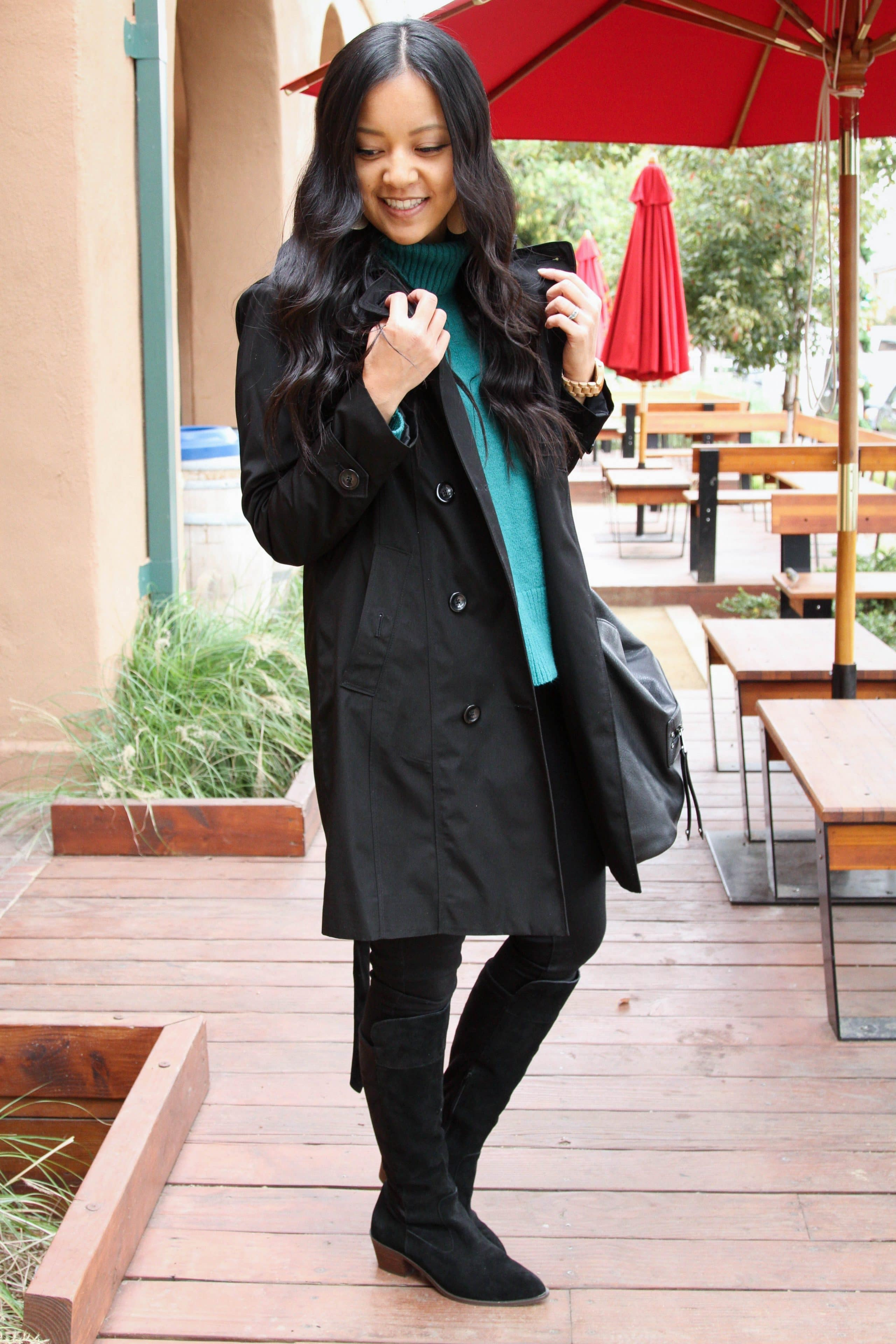 Black boots + Skinnies + Black trench + Green sweater