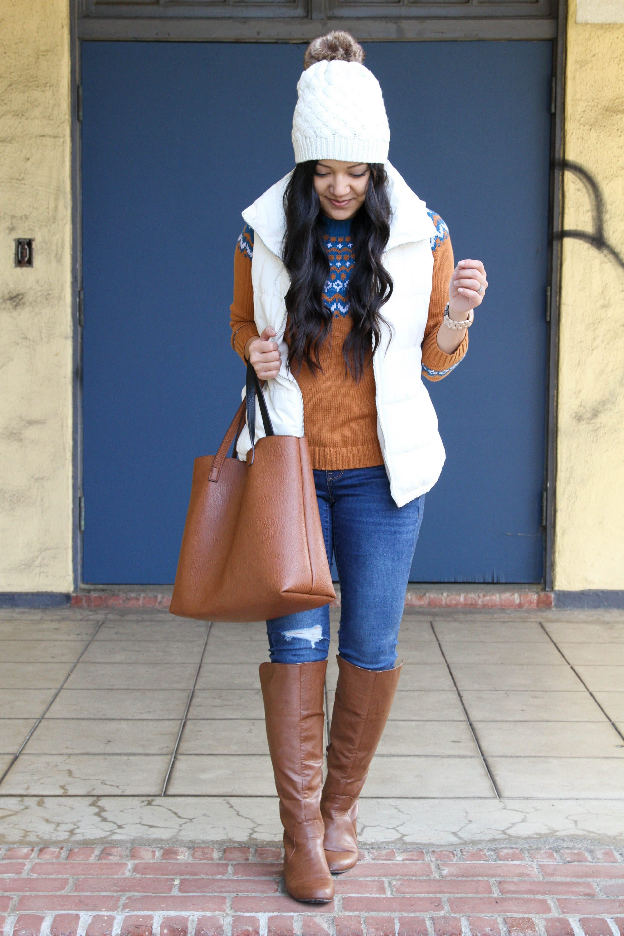 white puffer vest + fair isle sweater + boots