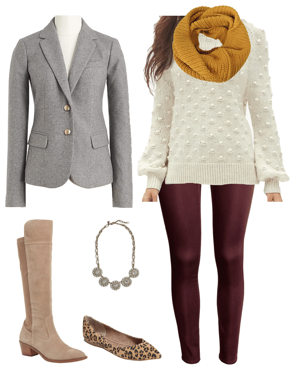 Winter Outfit Maroon Pants Yellow Scarf