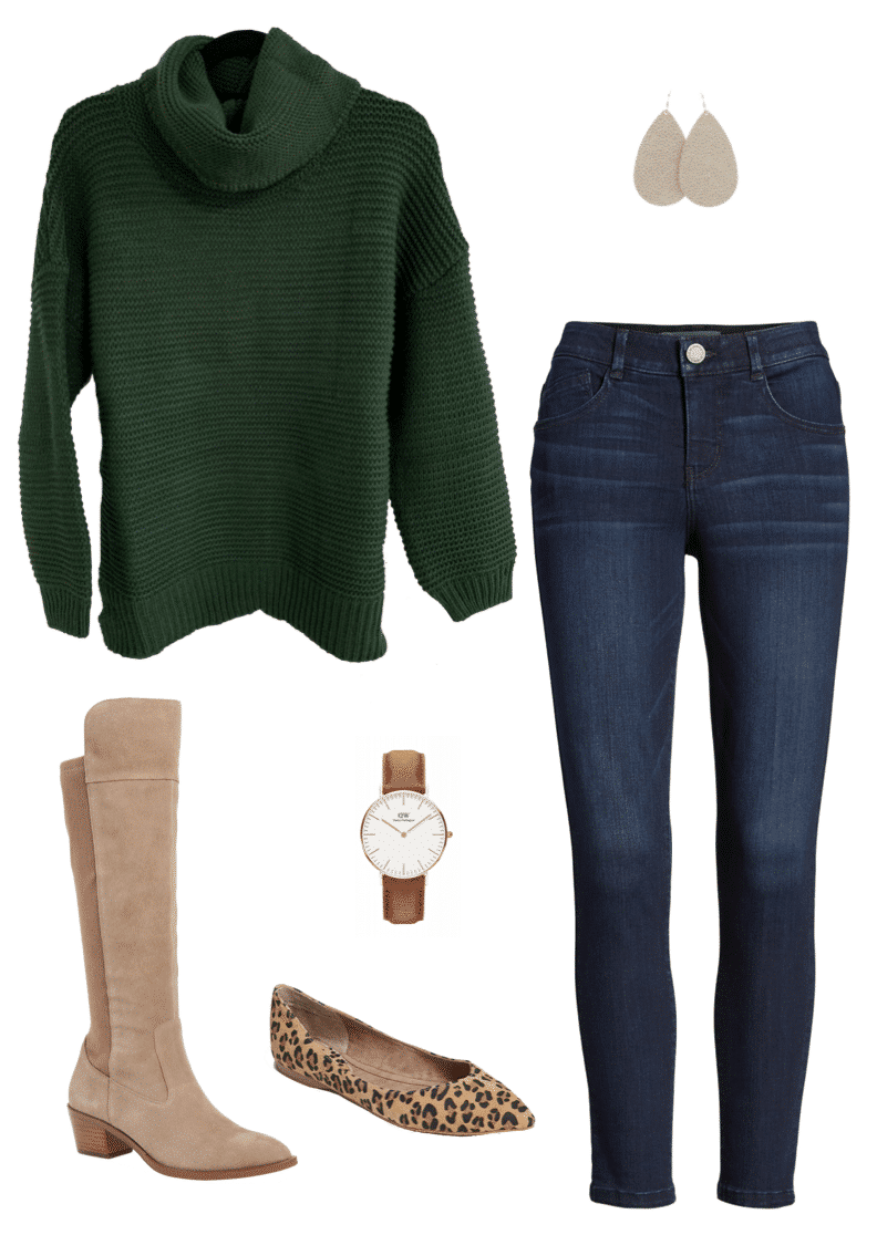 Winter Outfit Green Sweater