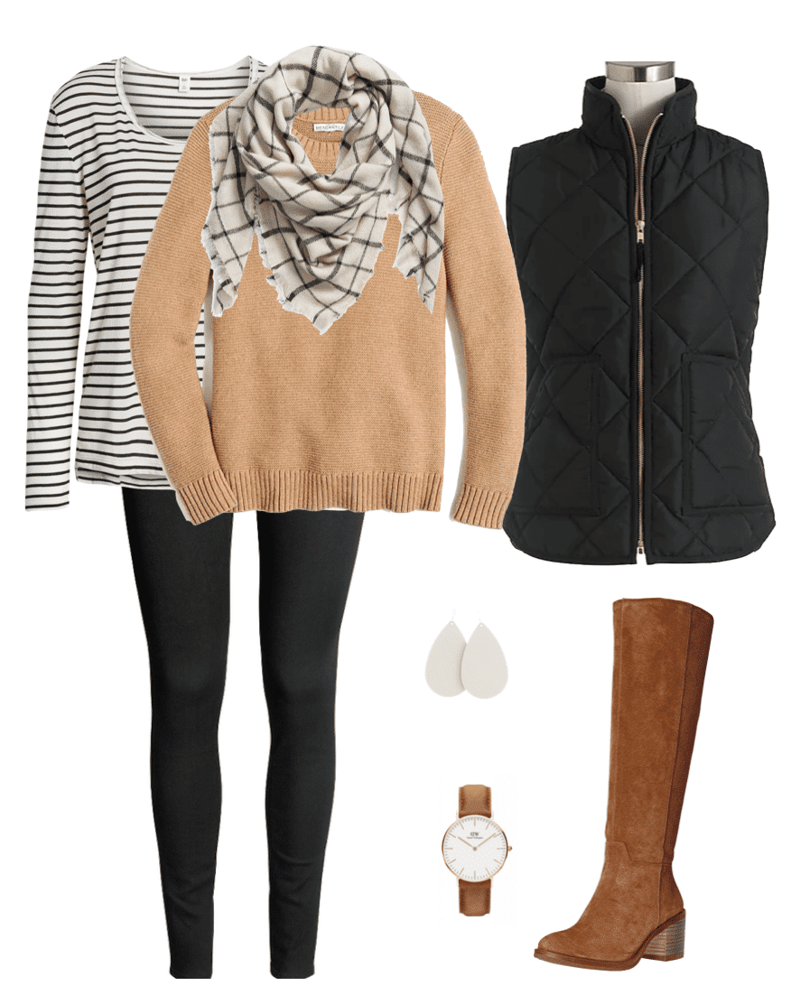 Winter Outfit Black Vest Striped Tee