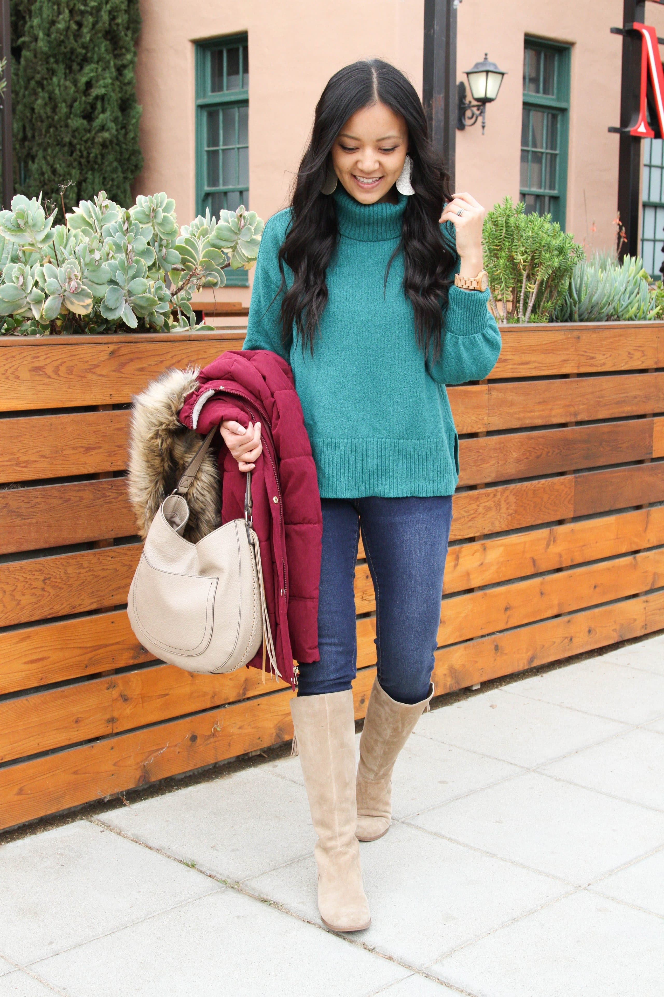 Green Sweater + Skinnies + Taupe Boots + Puffer
