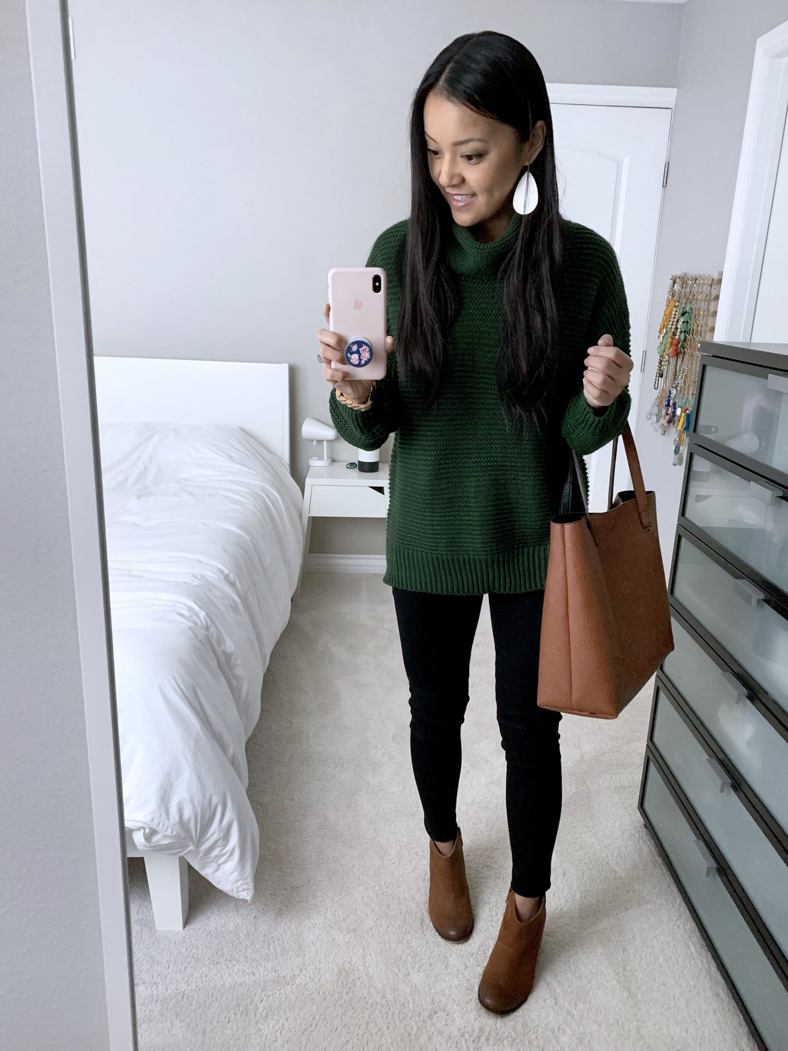 Black Skinnies + Green Cowl Neck Sweater + Tote + Booties