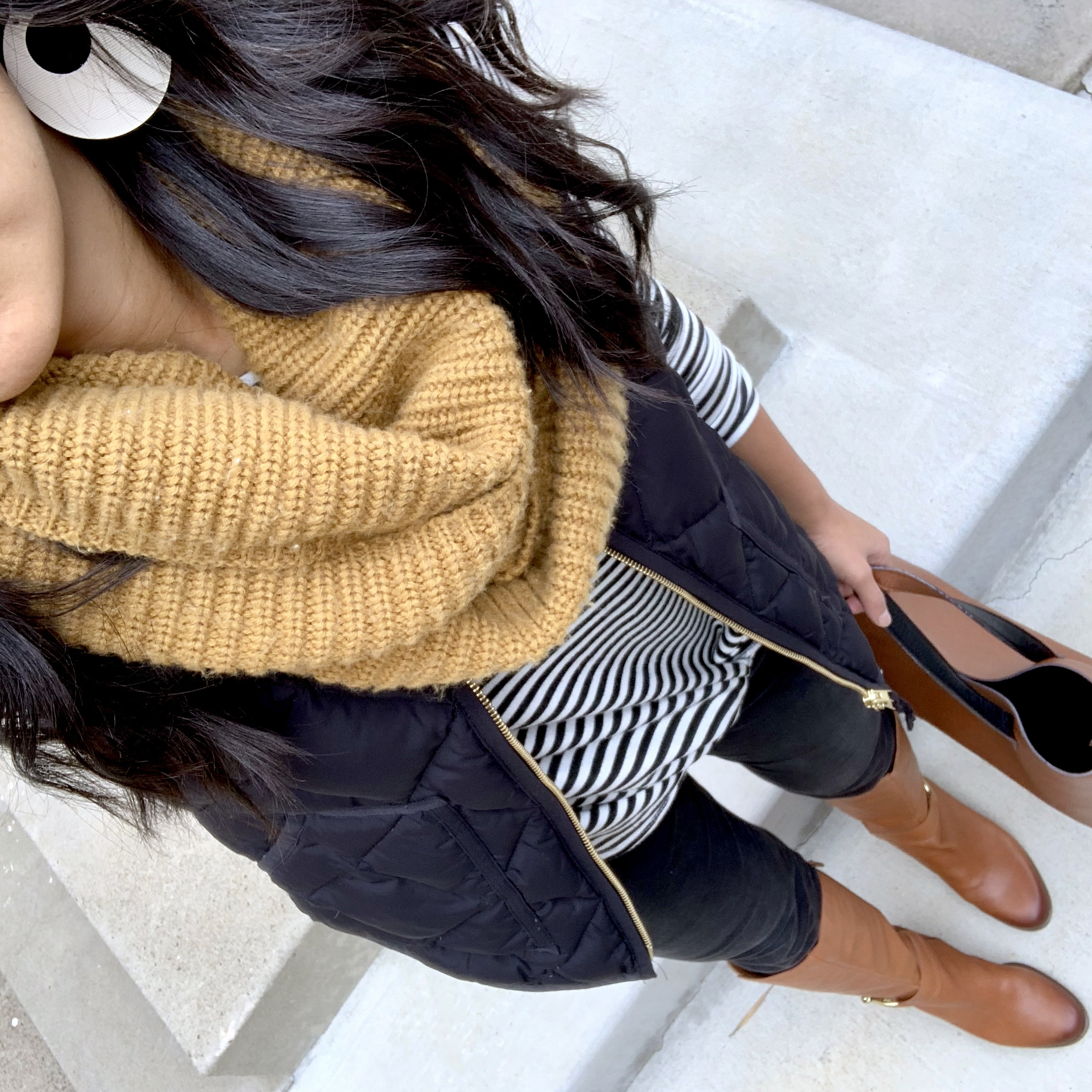black jeans + striped tee + black vest + mustard yellow scarf
