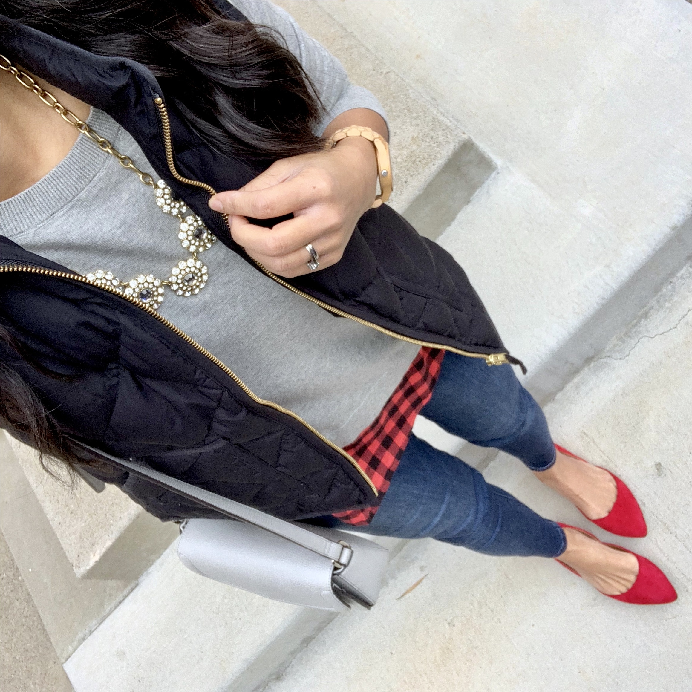 Black Vest + Gray Sweater + Red Flats